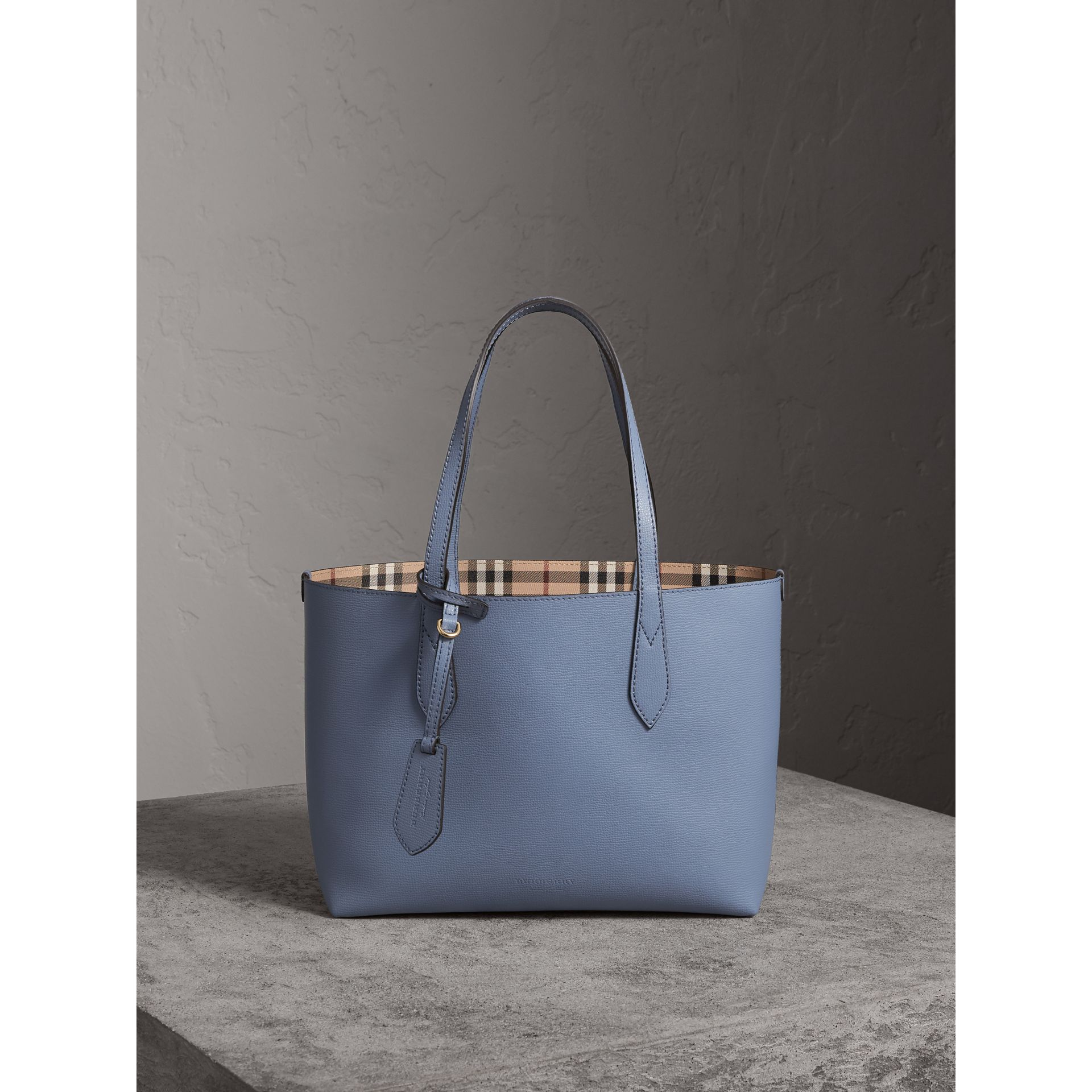 The Small Reversible Tote in Haymarket Check and Leather in Slate Blue - Women | Burberry Canada - gallery image 1