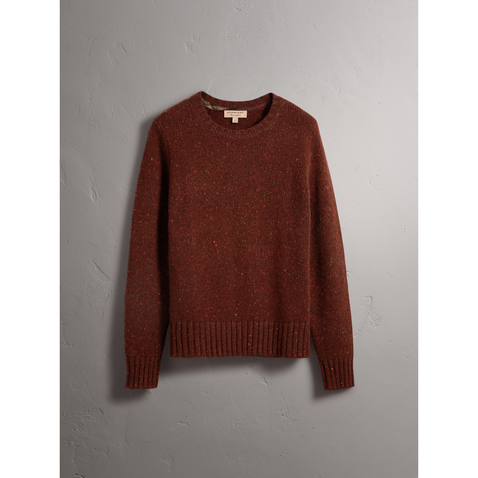 Wool Cashmere Mohair Tweed Sweater in Mahogany Red - Men | Burberry - gallery image 4