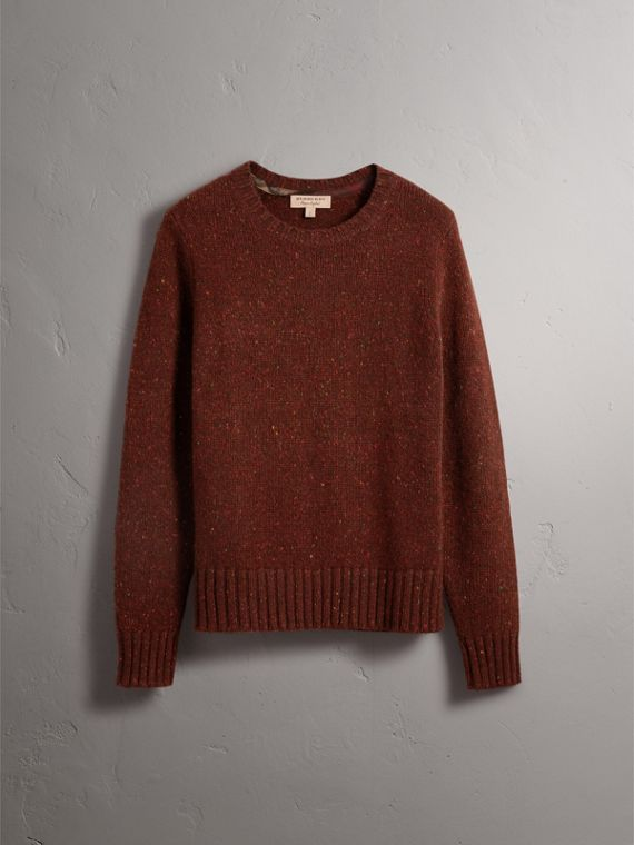 Wool Cashmere Mohair Tweed Sweater in Mahogany Red - Men | Burberry - cell image 3