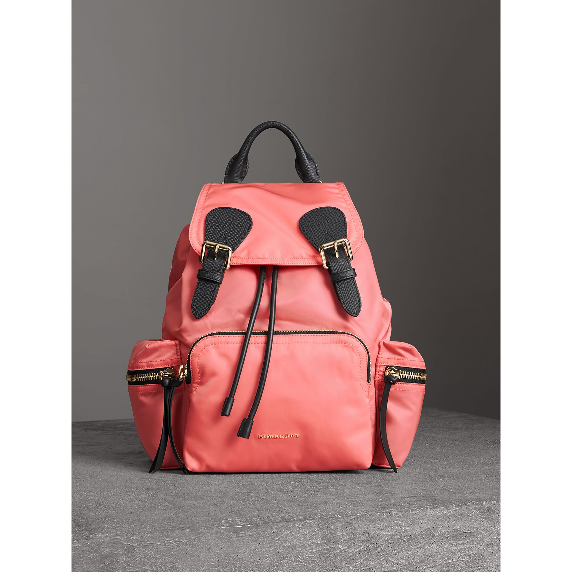 The Medium Rucksack in Technical Nylon and Leather in Bright Coral Pink - Women | Burberry United Kingdom - gallery image 6