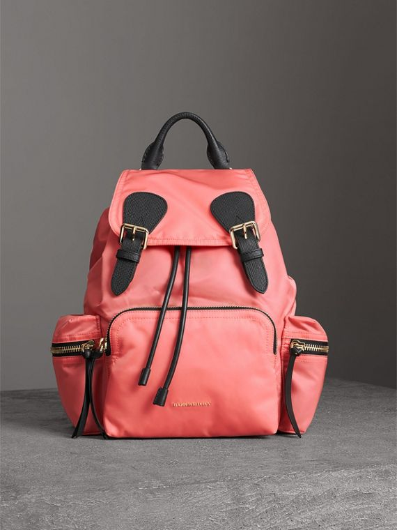 The Medium Rucksack in Technical Nylon and Leather in Bright Coral Pink