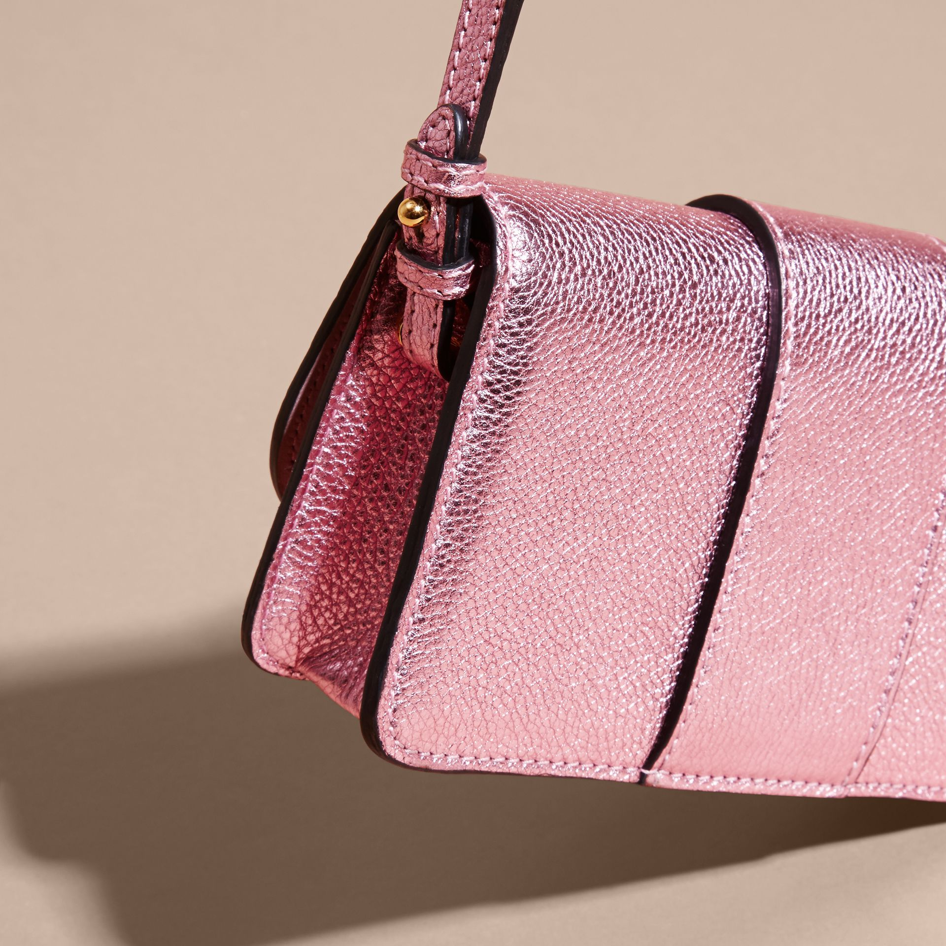 The Mini Buckle Bag in Metallic Grainy Leather in Pale Orchid - gallery image 7