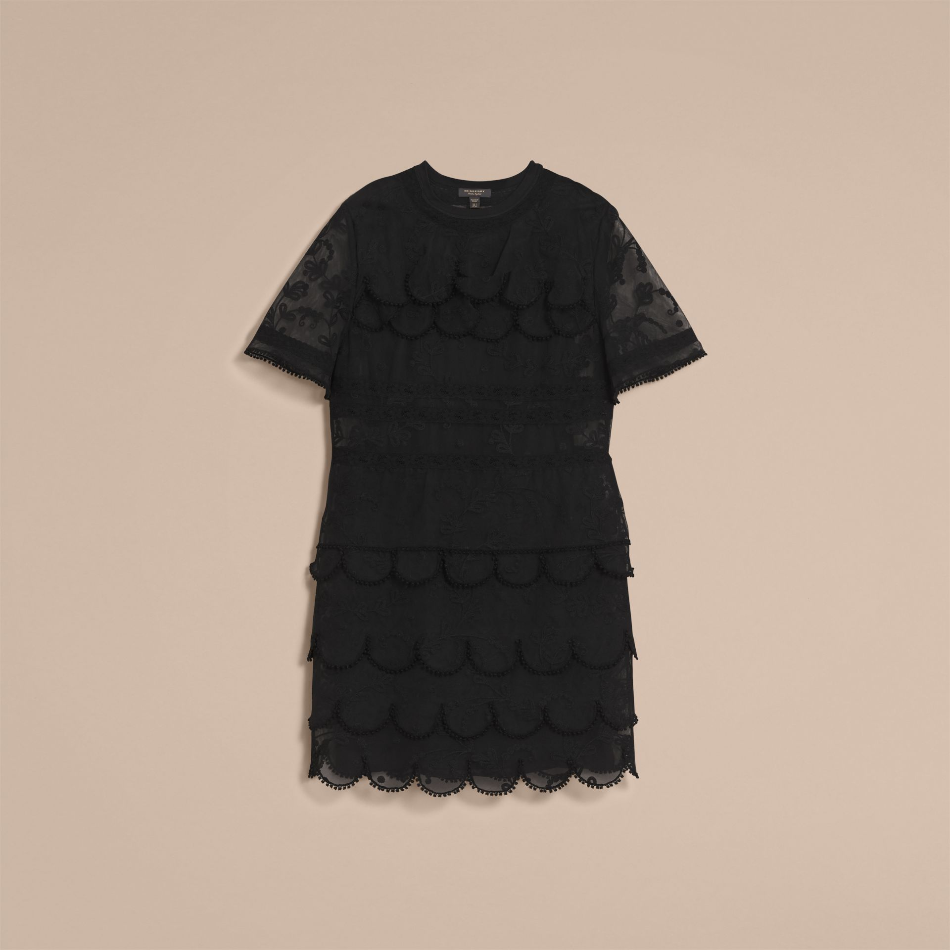 Short-sleeve Soutache Lace Tulle Dress in Black - Women | Burberry - gallery image 3