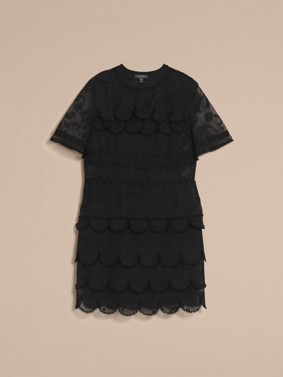 Short-sleeve Soutache Lace Tulle Dress in Black - Women | Burberry - cell image 3