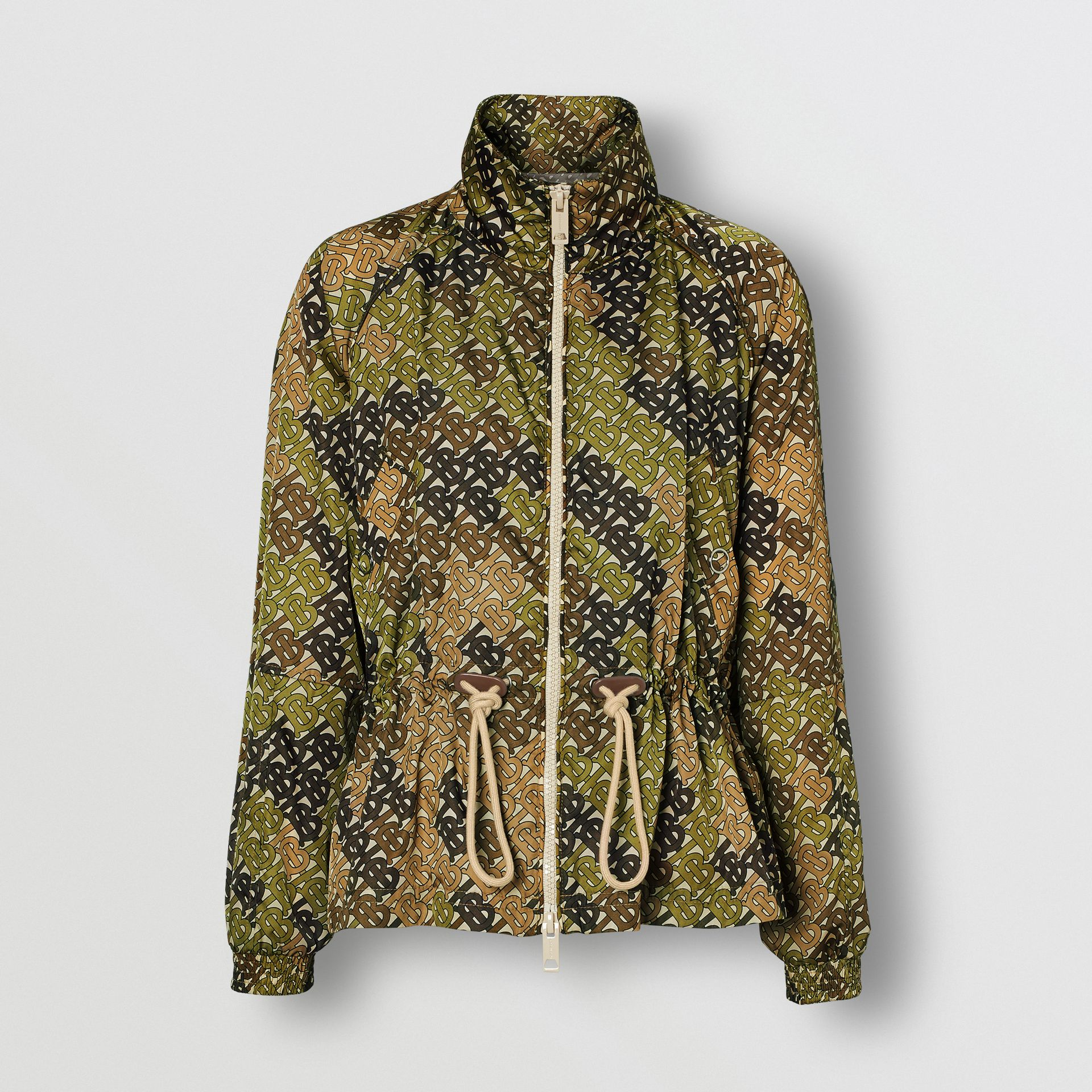 Monogram Print Nylon Funnel Neck Jacket in Khaki Green - Women | Burberry - gallery image 3
