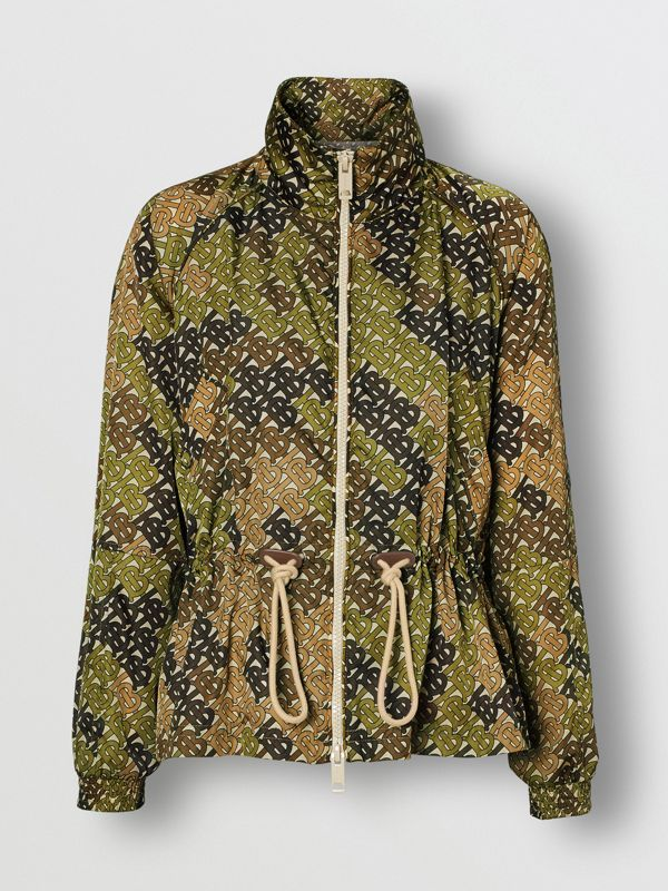Monogram Print Nylon Funnel Neck Jacket in Khaki Green - Women | Burberry - cell image 3