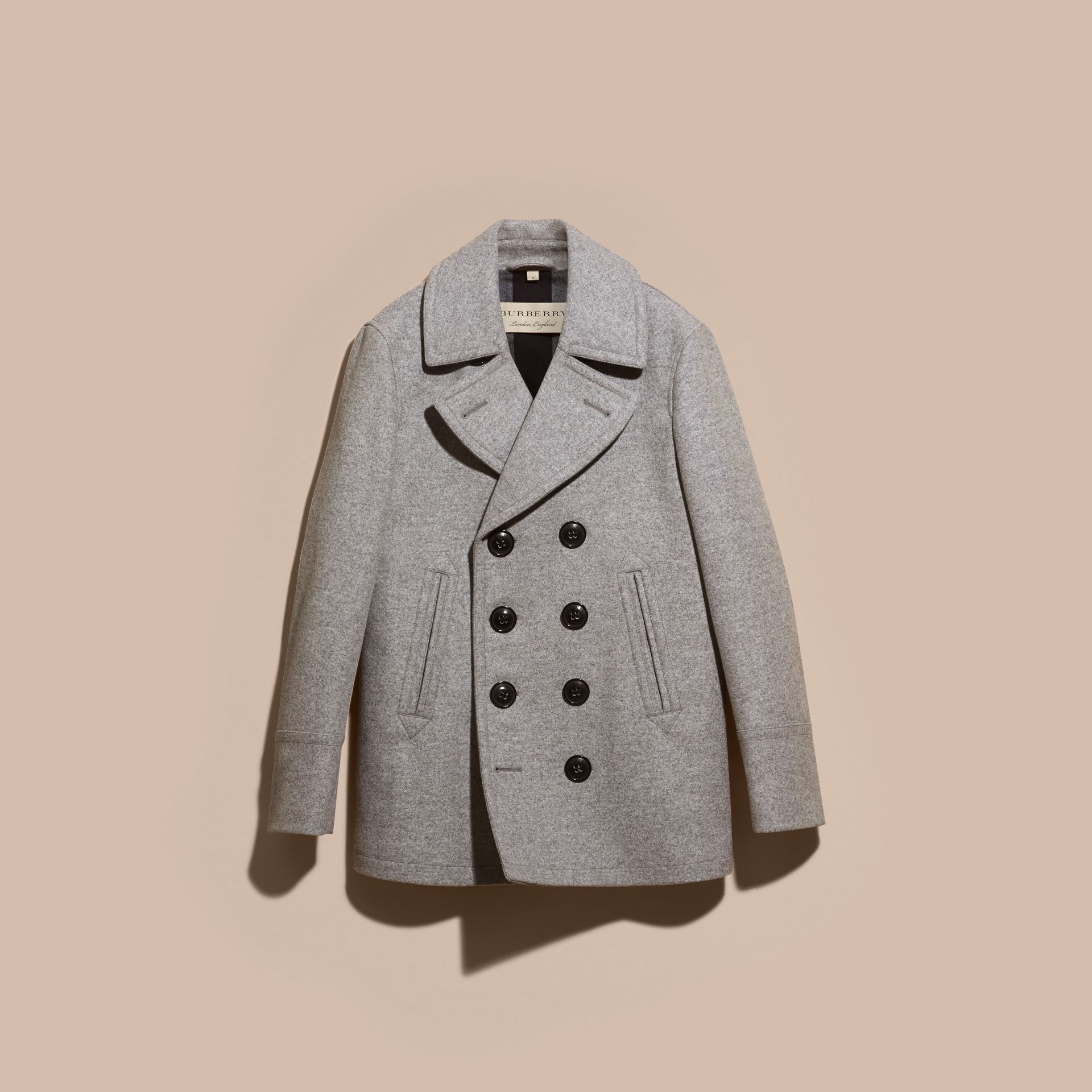 Wool Cashmere Pea Coat in Pale Grey Melange - gallery image 4