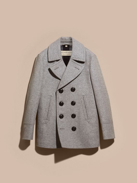 Wool Cashmere Pea Coat in Pale Grey Melange - cell image 3