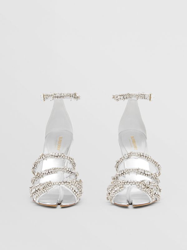 Embellished Split-toe Detail Leather Sandals in Optic White - Women | Burberry United Kingdom - cell image 3