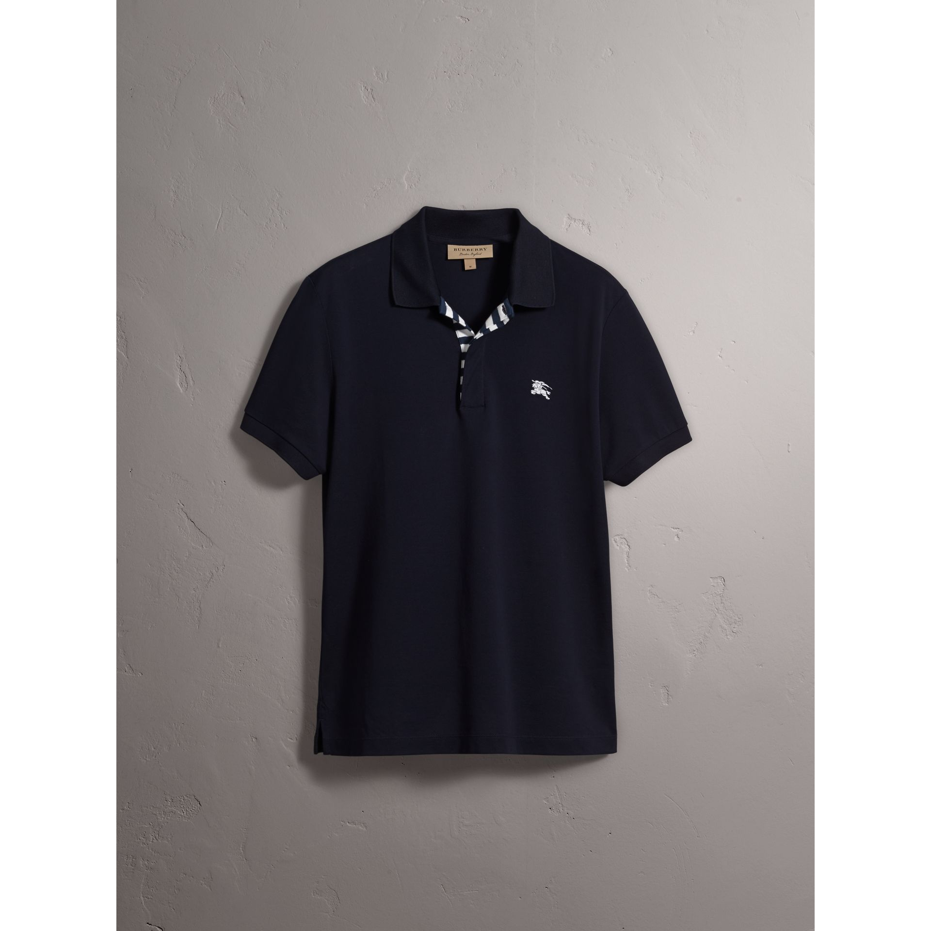 Striped Placket Cotton Piqué Polo Shirt in Navy - Men | Burberry - gallery image 4