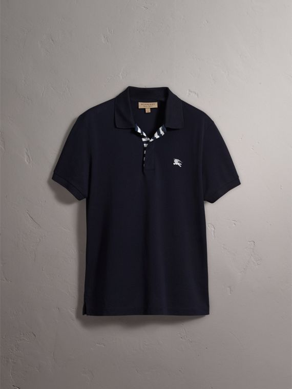 Striped Placket Cotton Piqué Polo Shirt in Navy - Men | Burberry Canada - cell image 3