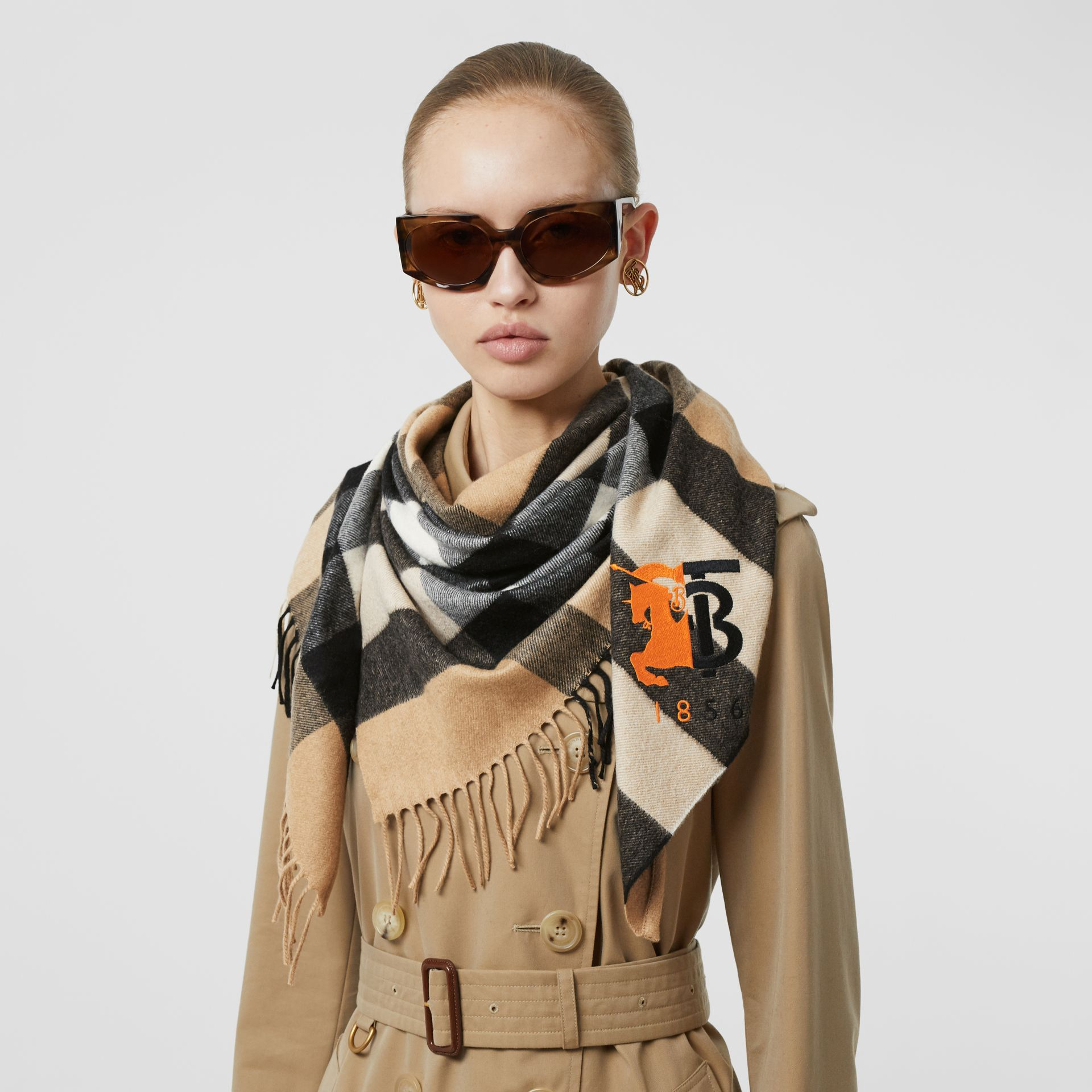 Contrast Logo Graphic Check Cashmere Bandana in Camel | Burberry - gallery image 2
