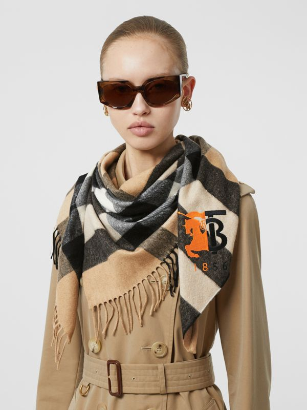 Contrast Logo Graphic Check Cashmere Bandana in Camel | Burberry - cell image 2