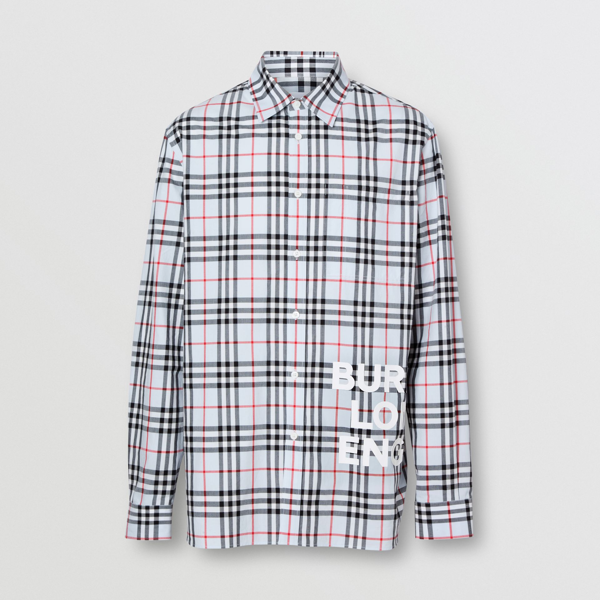 Logo Print Check Cotton Oversized Shirt in Pale Blue - Men | Burberry - gallery image 3