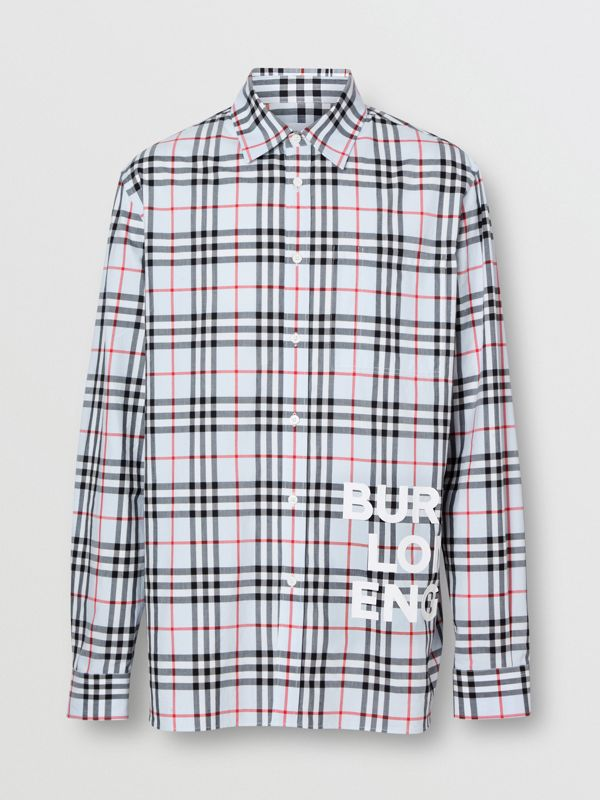 Logo Print Check Cotton Oversized Shirt in Pale Blue - Men | Burberry - cell image 3