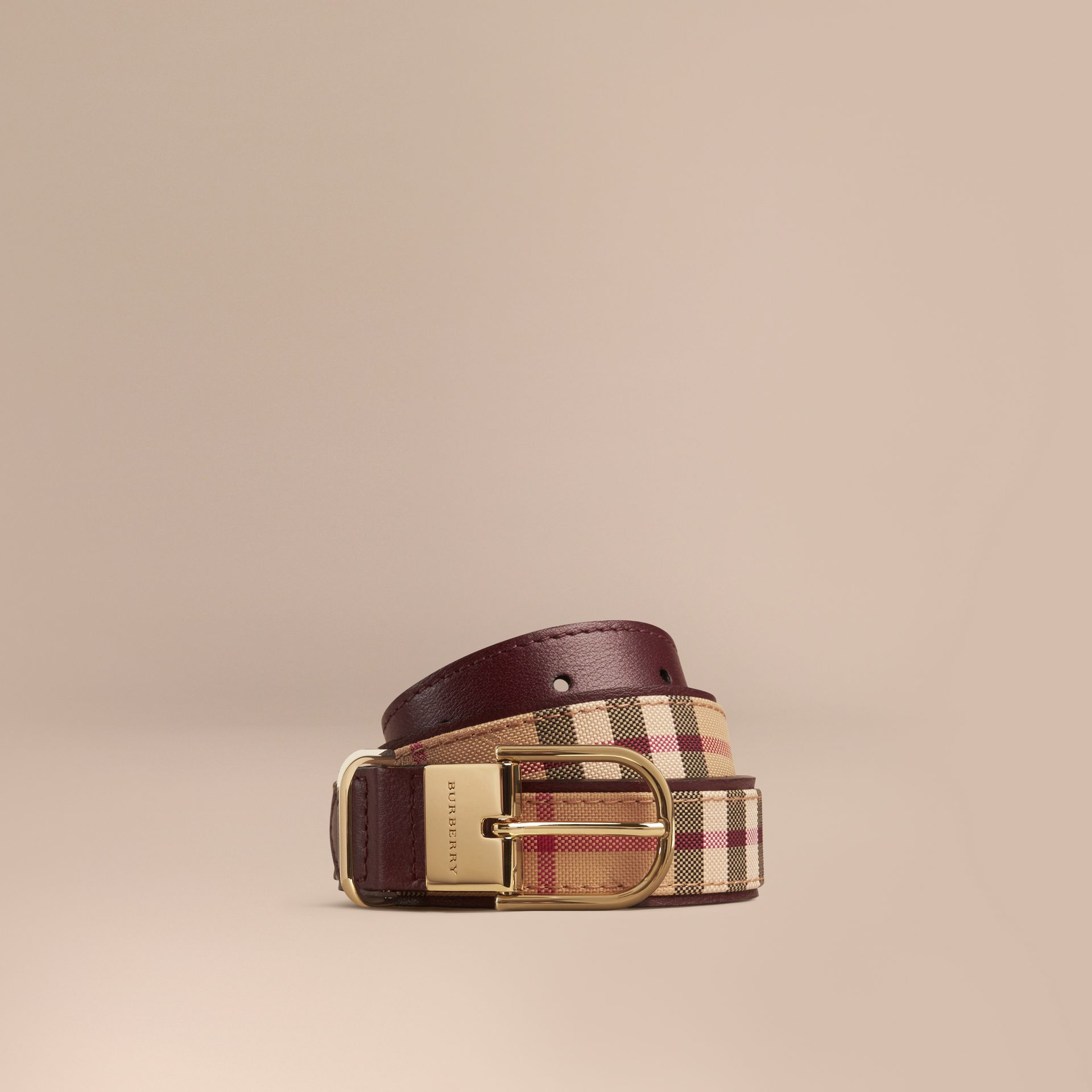 Horseferry Check and Leather Belt in Deep Claret - Women | Burberry - gallery image 1