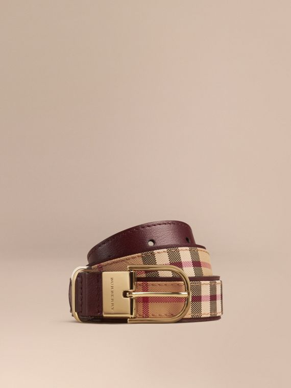 Horseferry Check and Leather Belt in Deep Claret - Women | Burberry Singapore