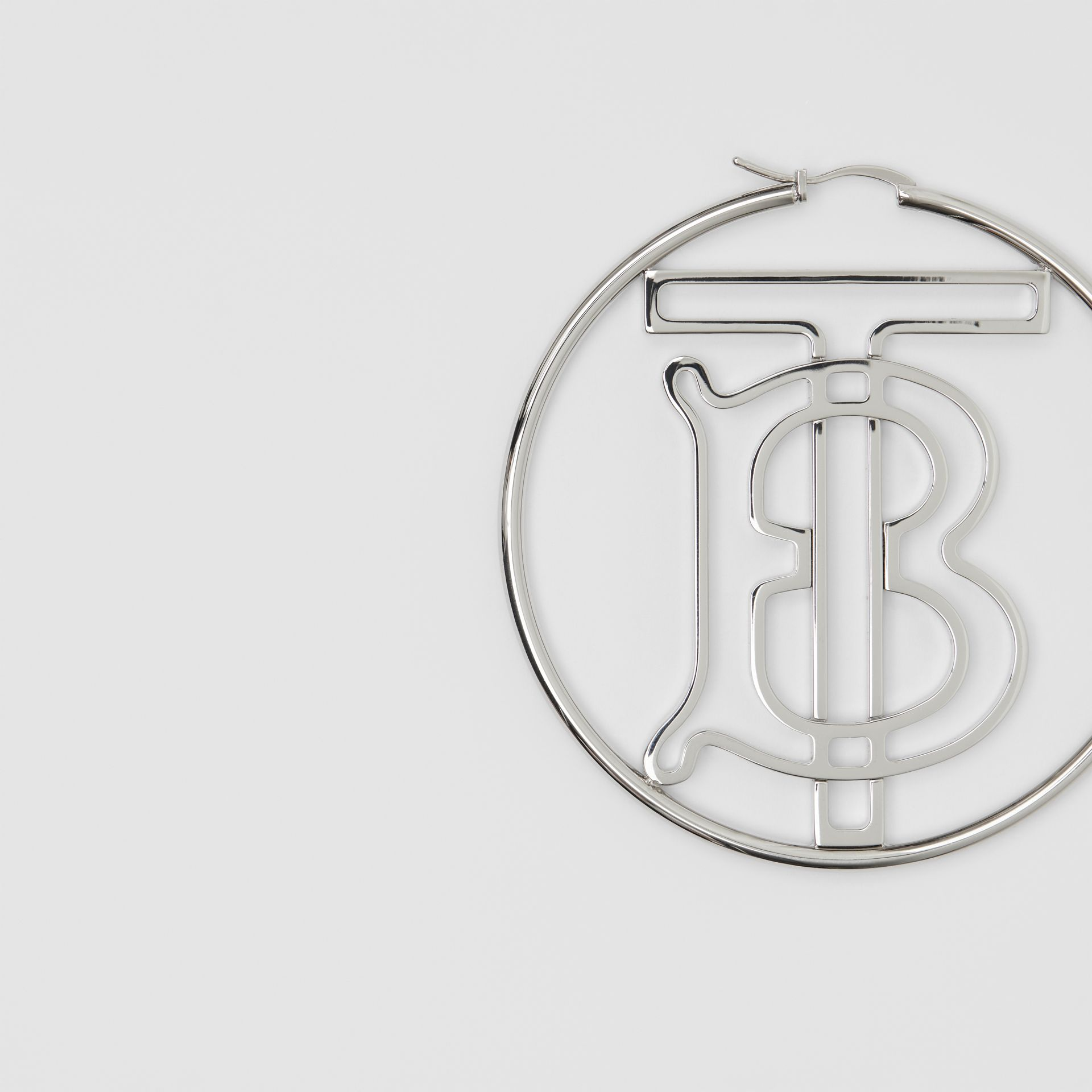 Palladium-plated Monogram Motif Hoop Earrings in Palladio - Women | Burberry Singapore - gallery image 1