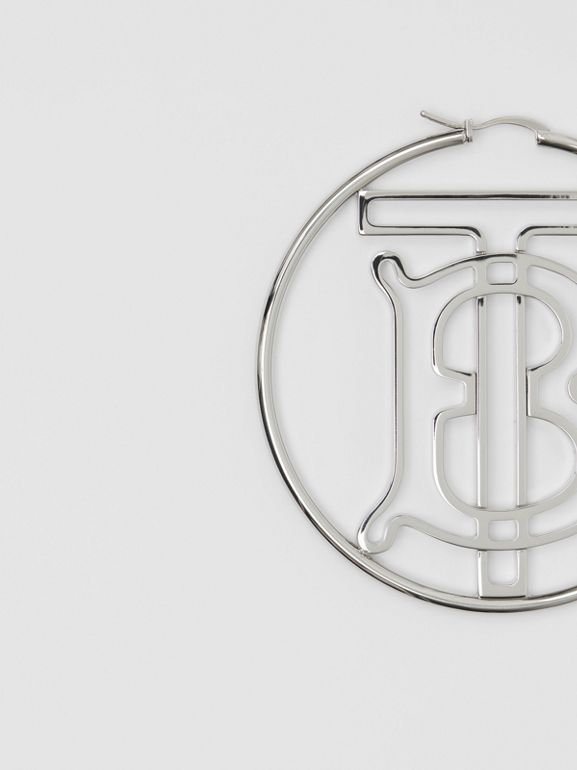 Palladium-plated Monogram Motif Hoop Earrings in Palladio - Women | Burberry Singapore - cell image 1