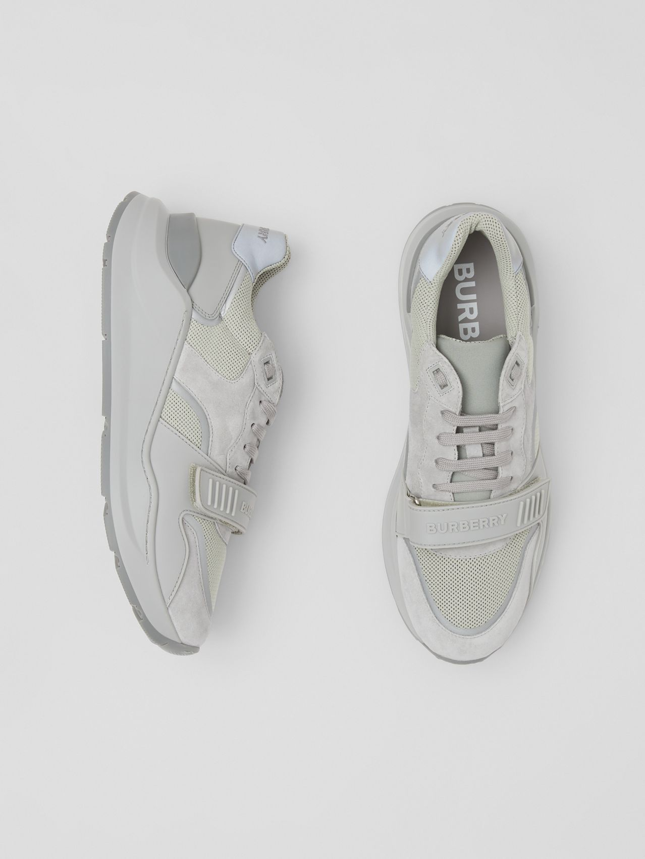 Suede, Leather and Mesh Sneakers in Grey