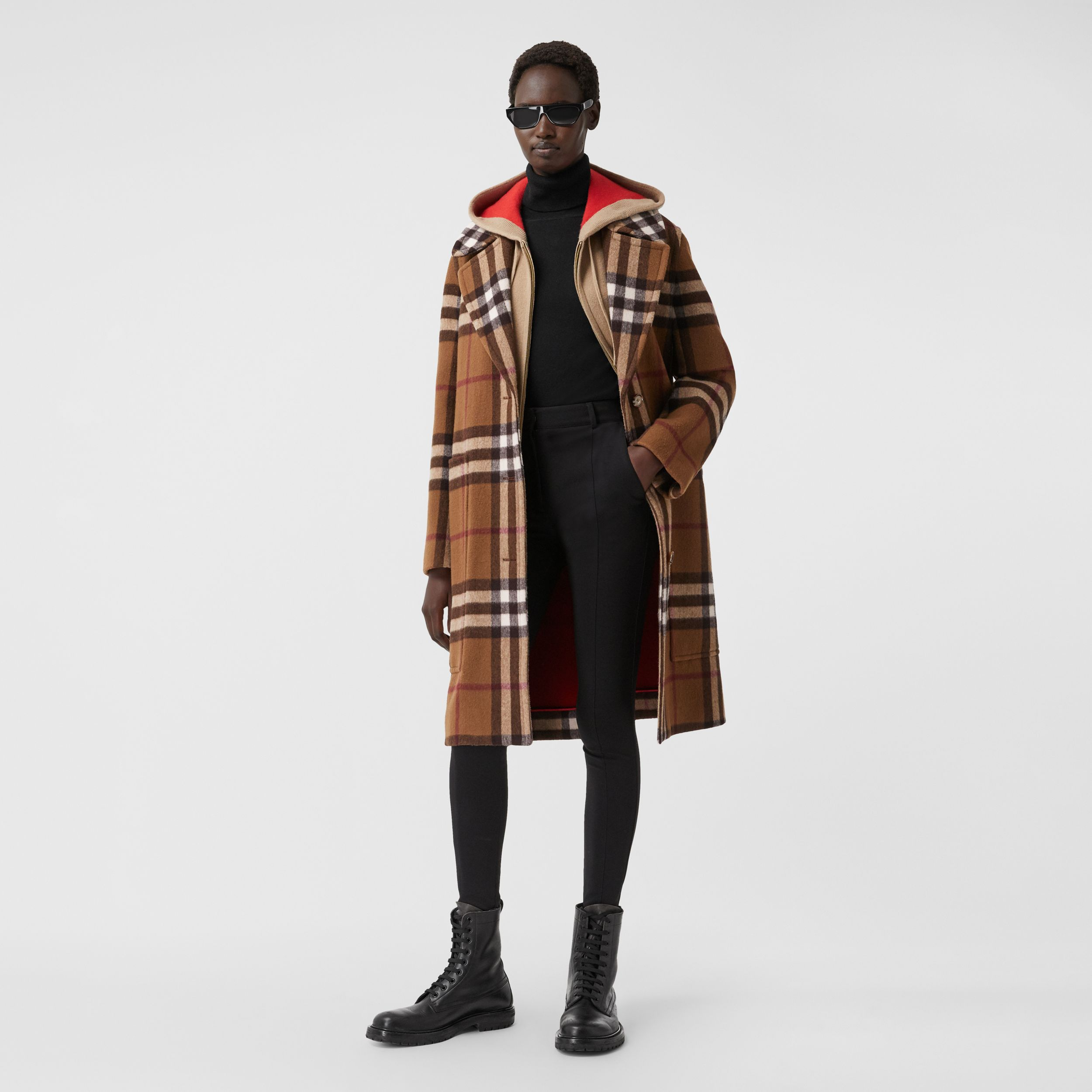 Check Wool Tailored Coat in Birch Brown - Women | Burberry - 1