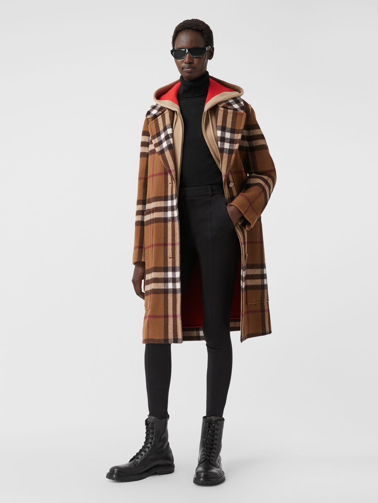 Check Wool Tailored Coat in Birch Brown
