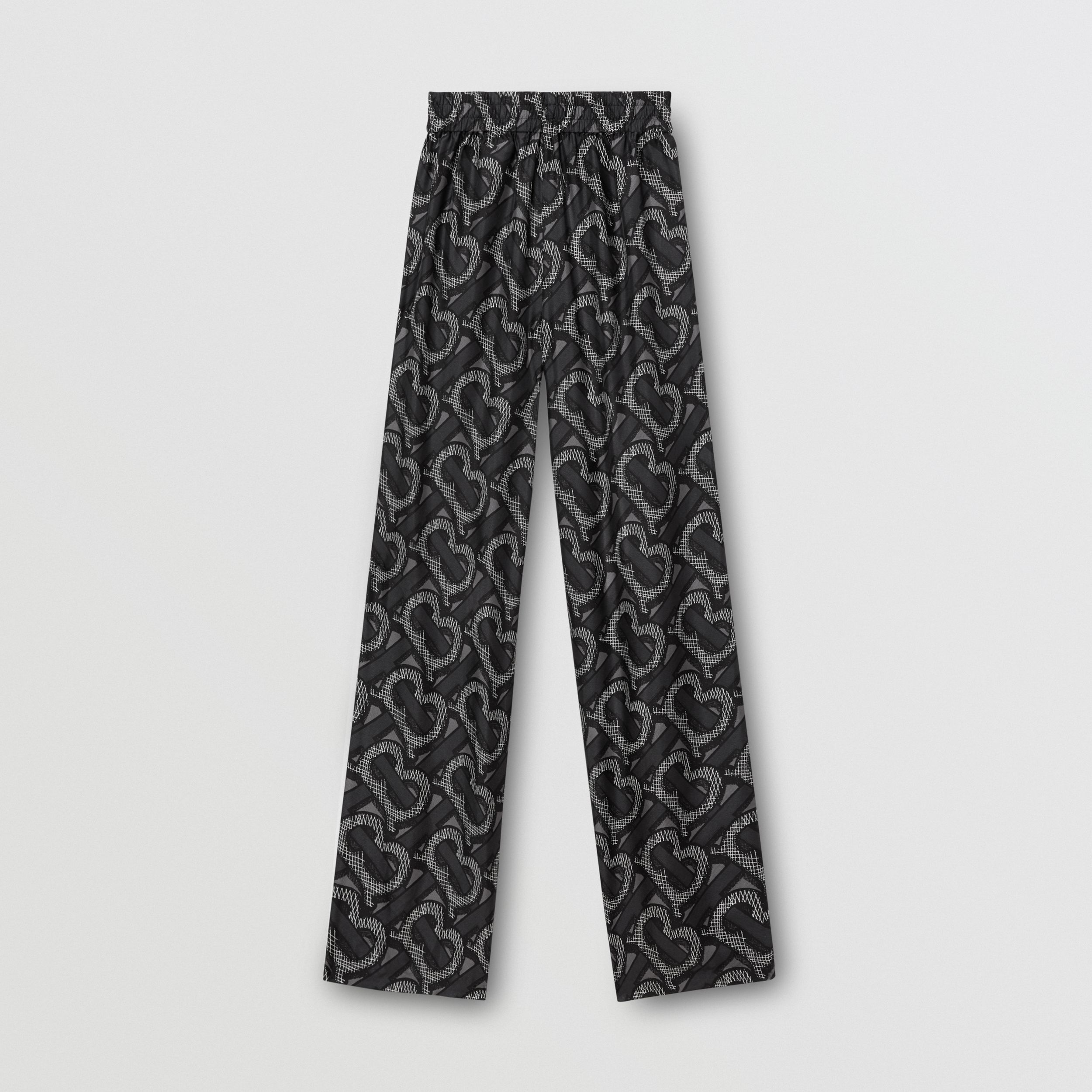 Monogram Print Silk Twill Wide-leg Trousers in Graphite - Women | Burberry - 4