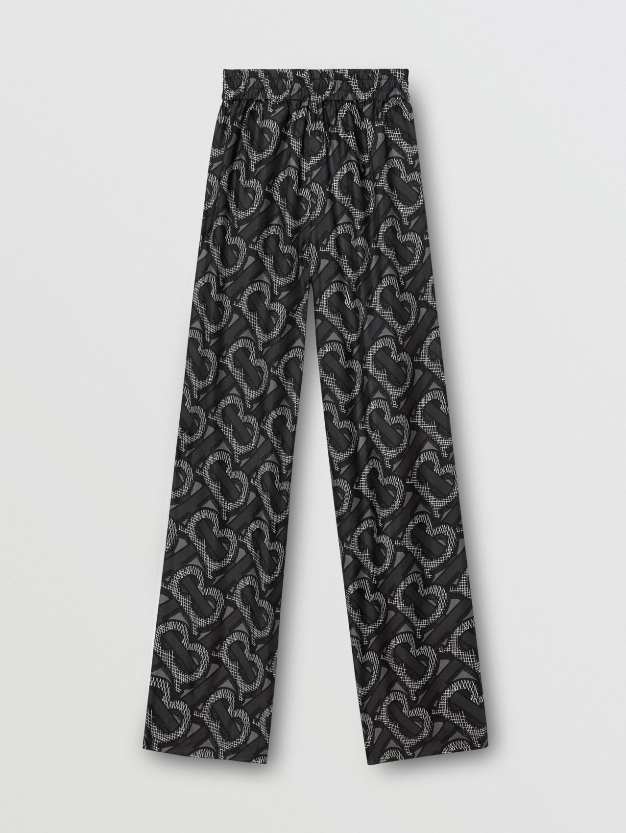 Monogram Print Silk Twill Wide-leg Trousers in Graphite