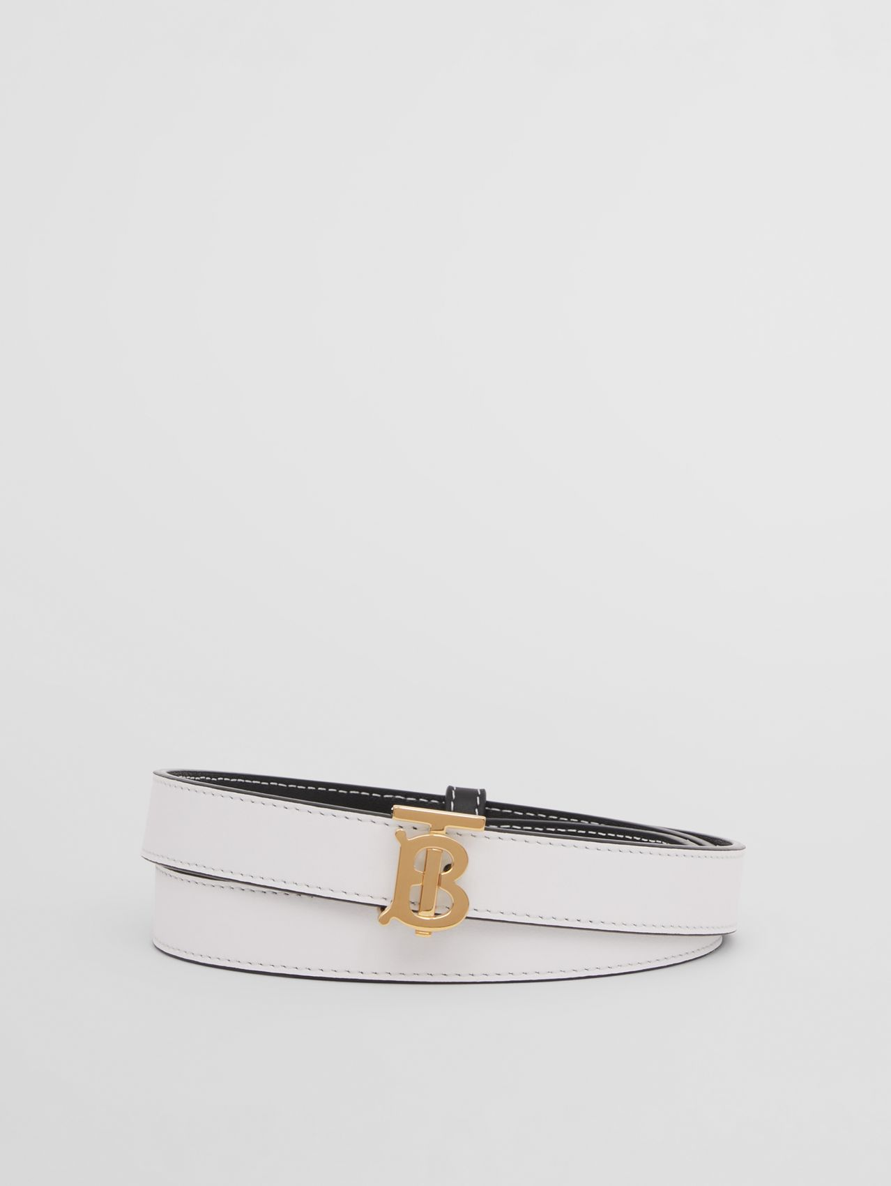 Reversible Monogram Motif Leather Belt in White/black