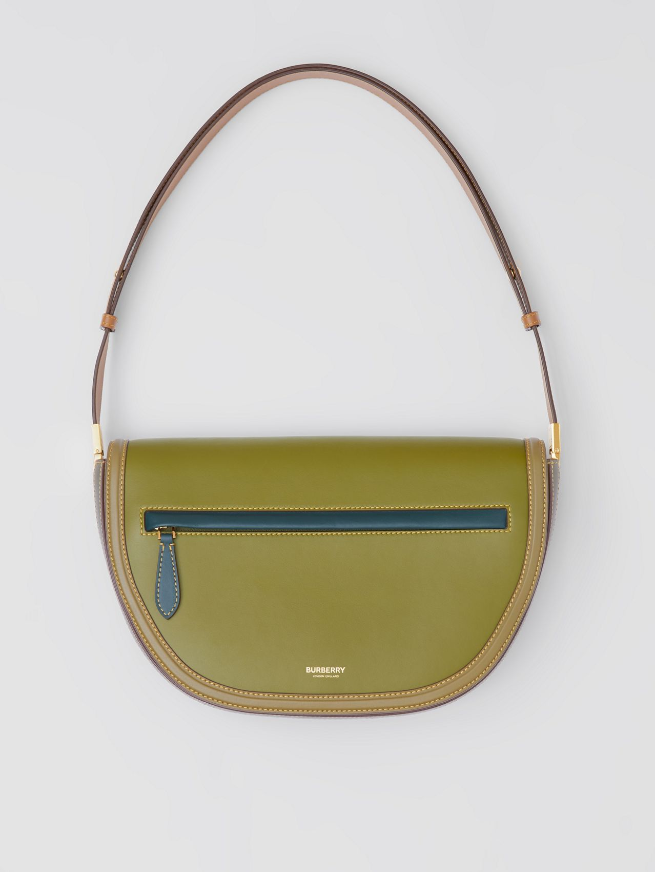 Medium Colour Block Leather Olympia Bag in Juniper Green