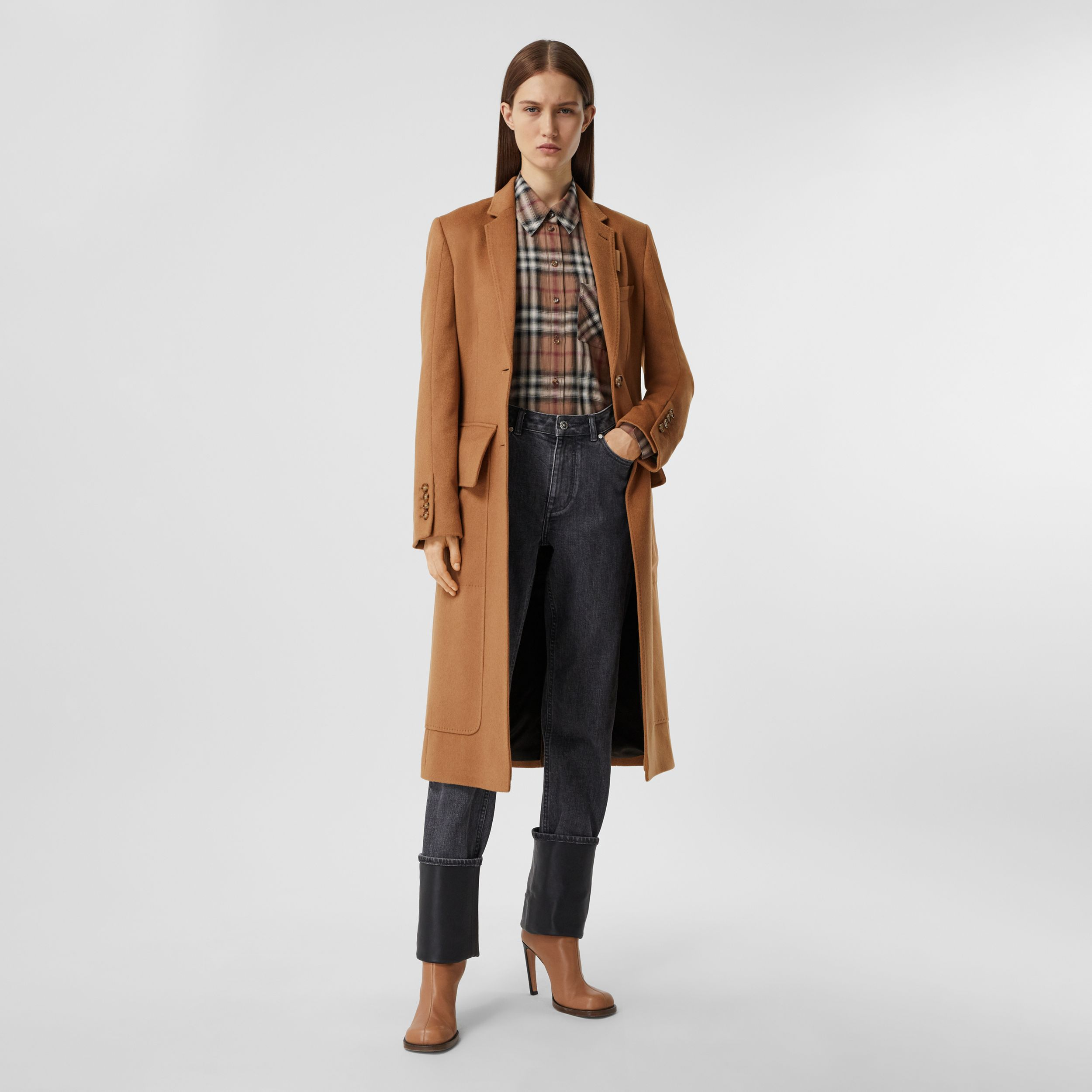 Cashmere Tailored Coat in Bronze - Women | Burberry - 1