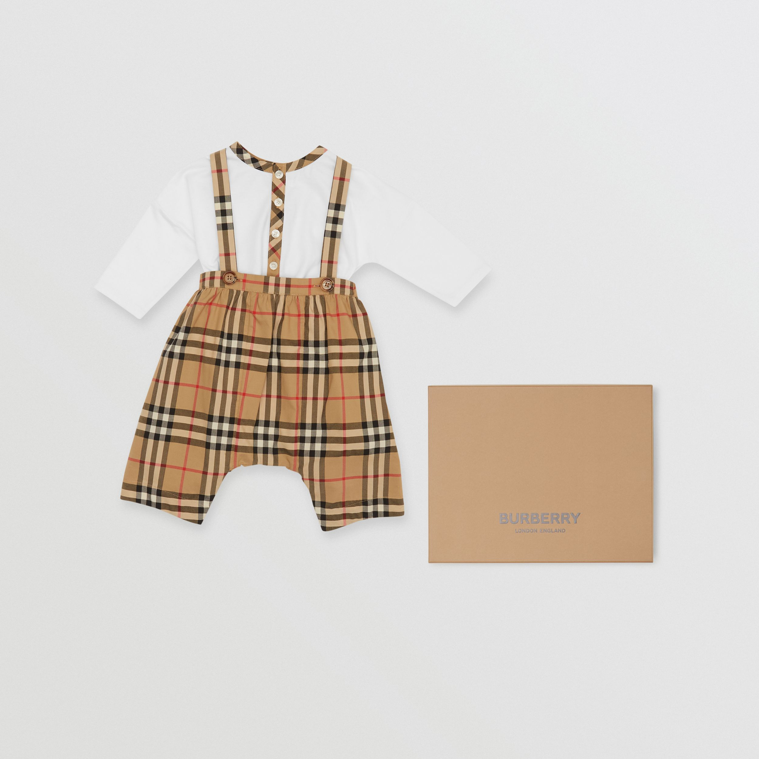 Vintage Check Cotton Two-piece Baby Gift Set in White - Children | Burberry - 1