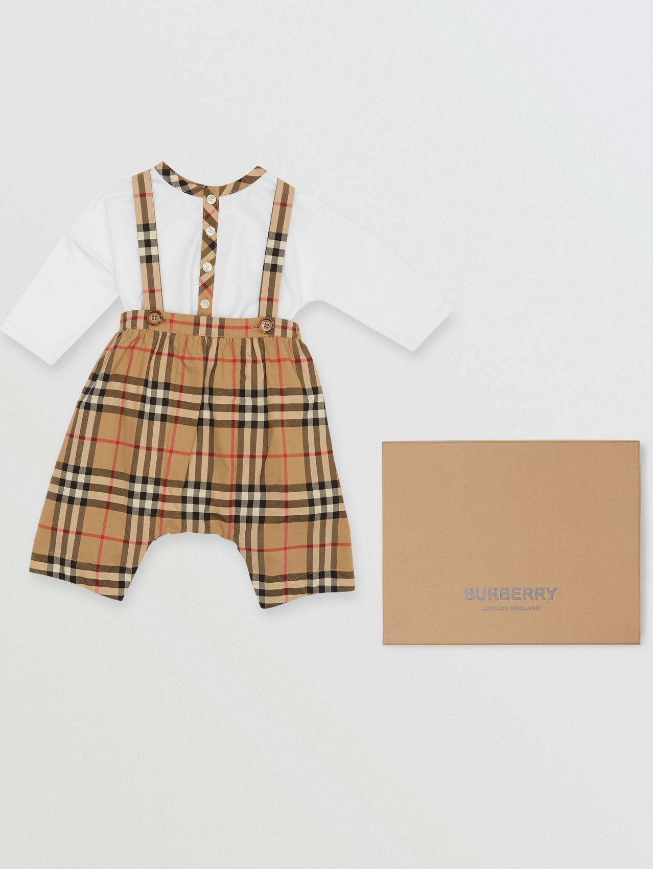 Vintage Check Cotton Two-piece Baby Gift Set in White