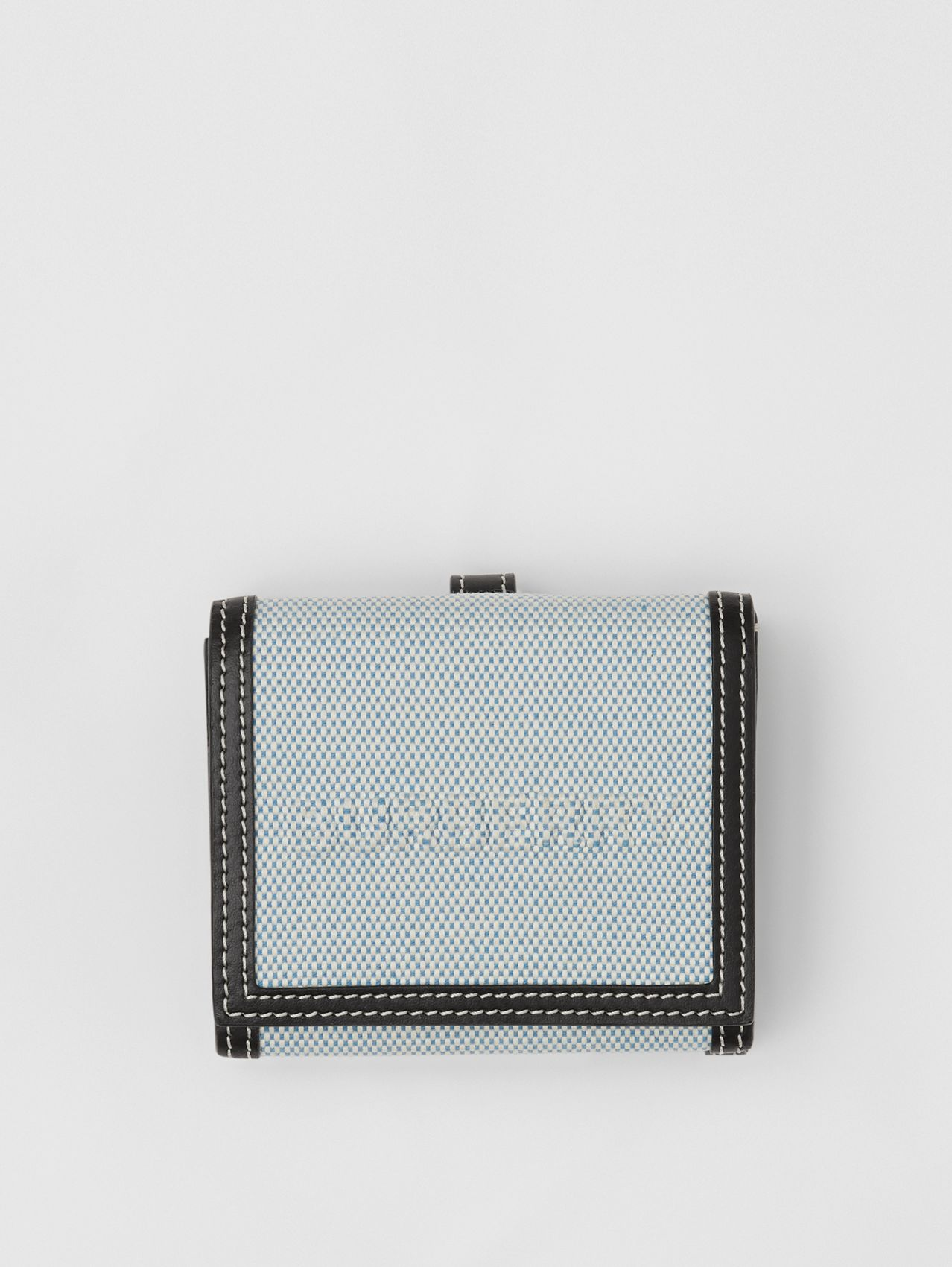 Two-tone Canvas and Leather Folding Wallet in Vivid Cobalt