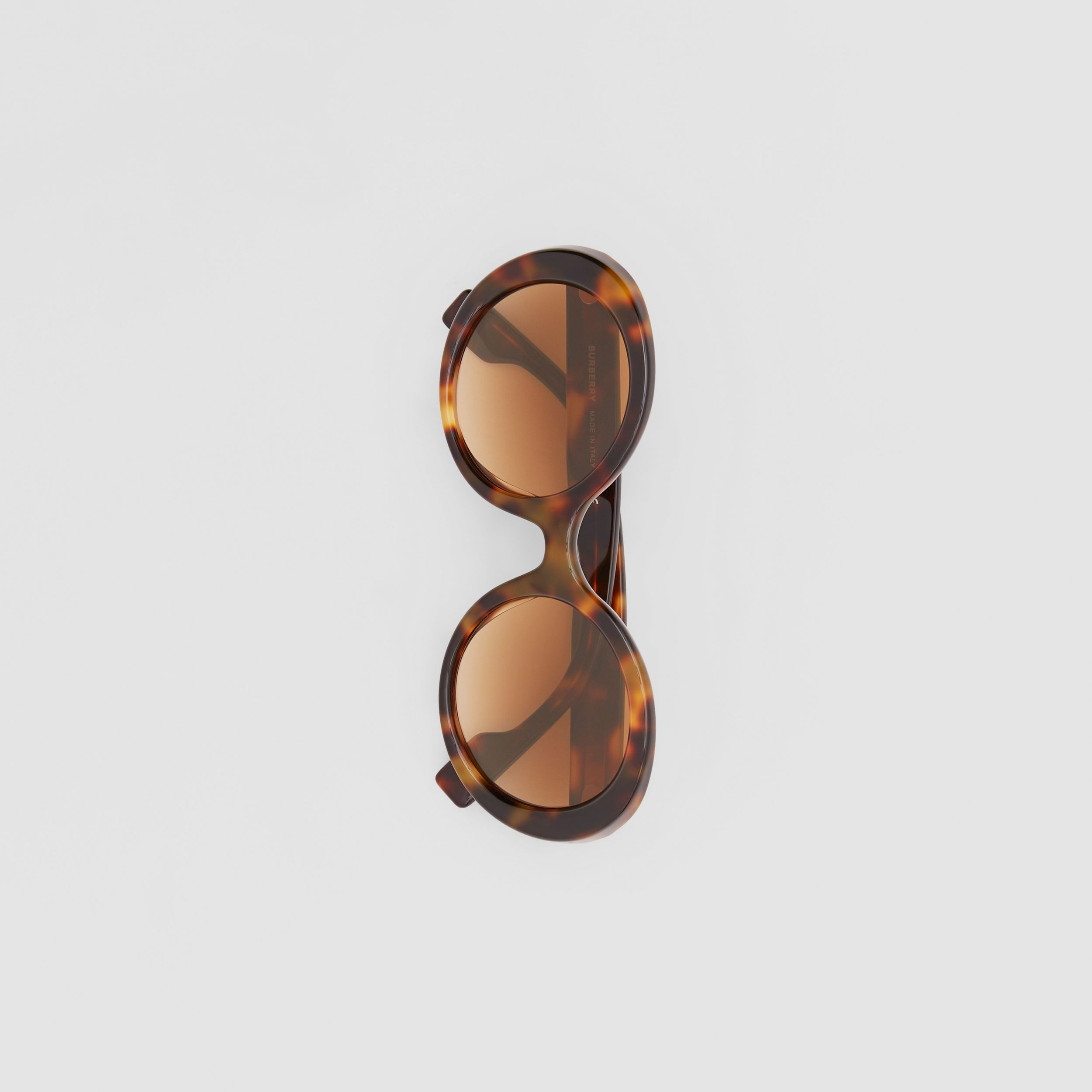 Oversized Round Frame Sunglasses in Dark Tortoise Amber - Women | Burberry - 4