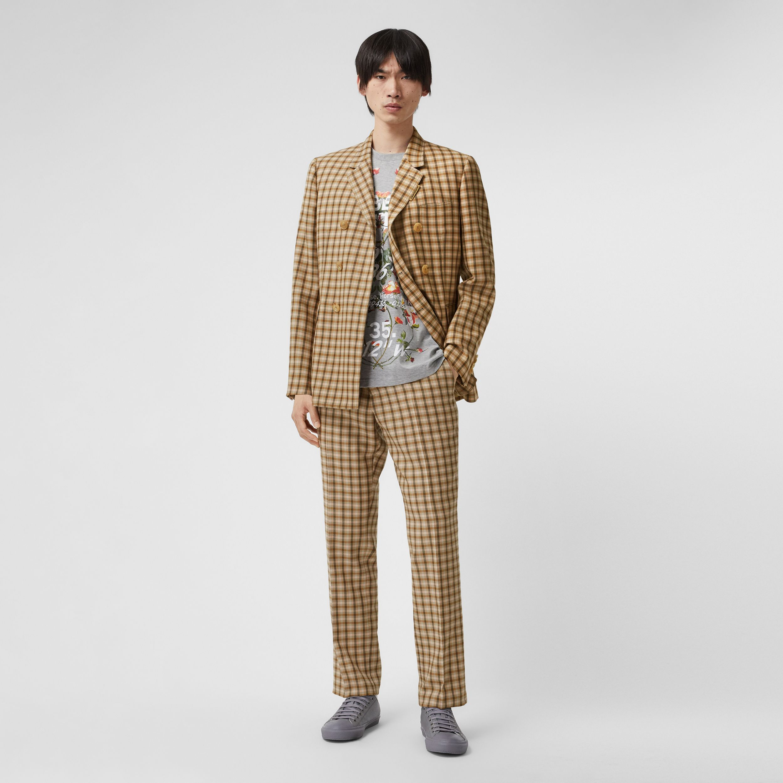 Gingham Wool Tailored Trousers in Soft Fawn - Men | Burberry - 1