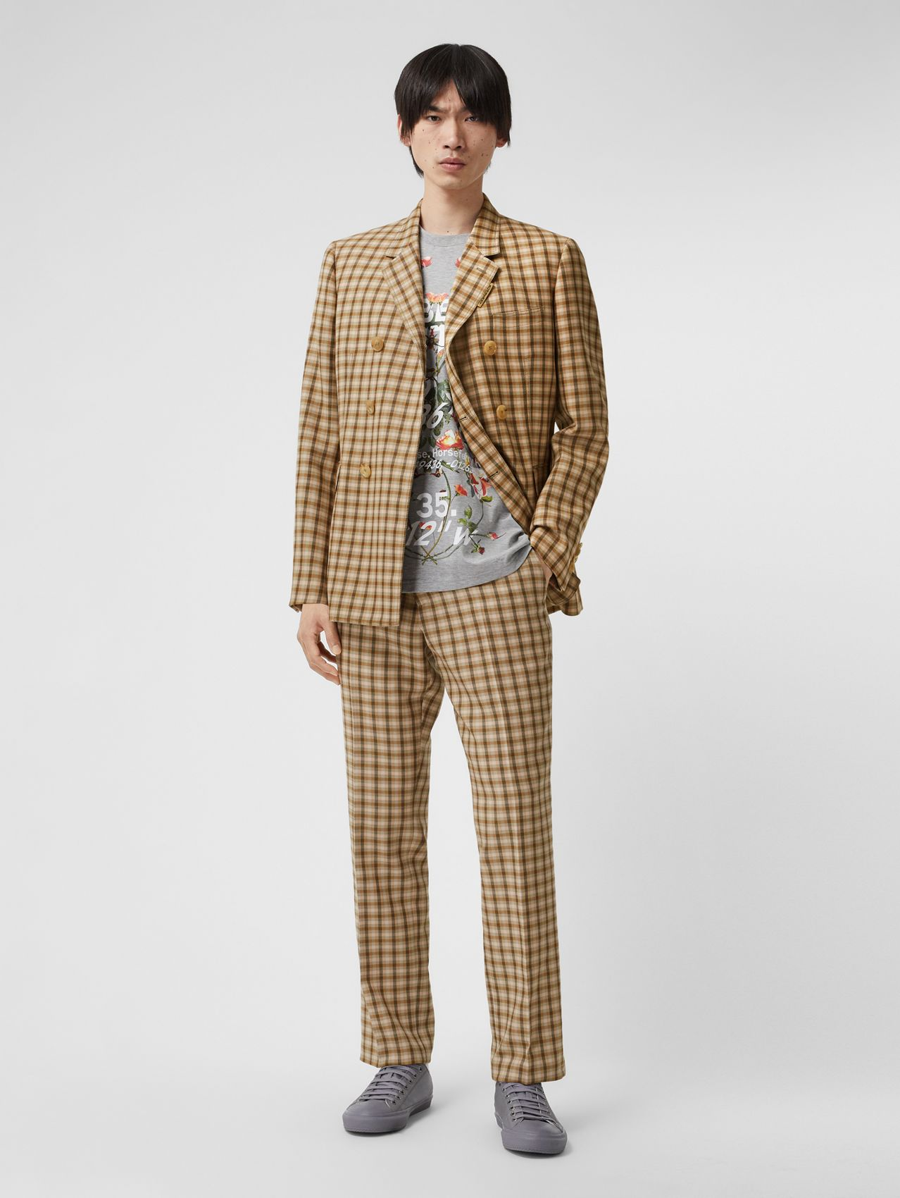 Gingham Wool Tailored Trousers in Soft Fawn