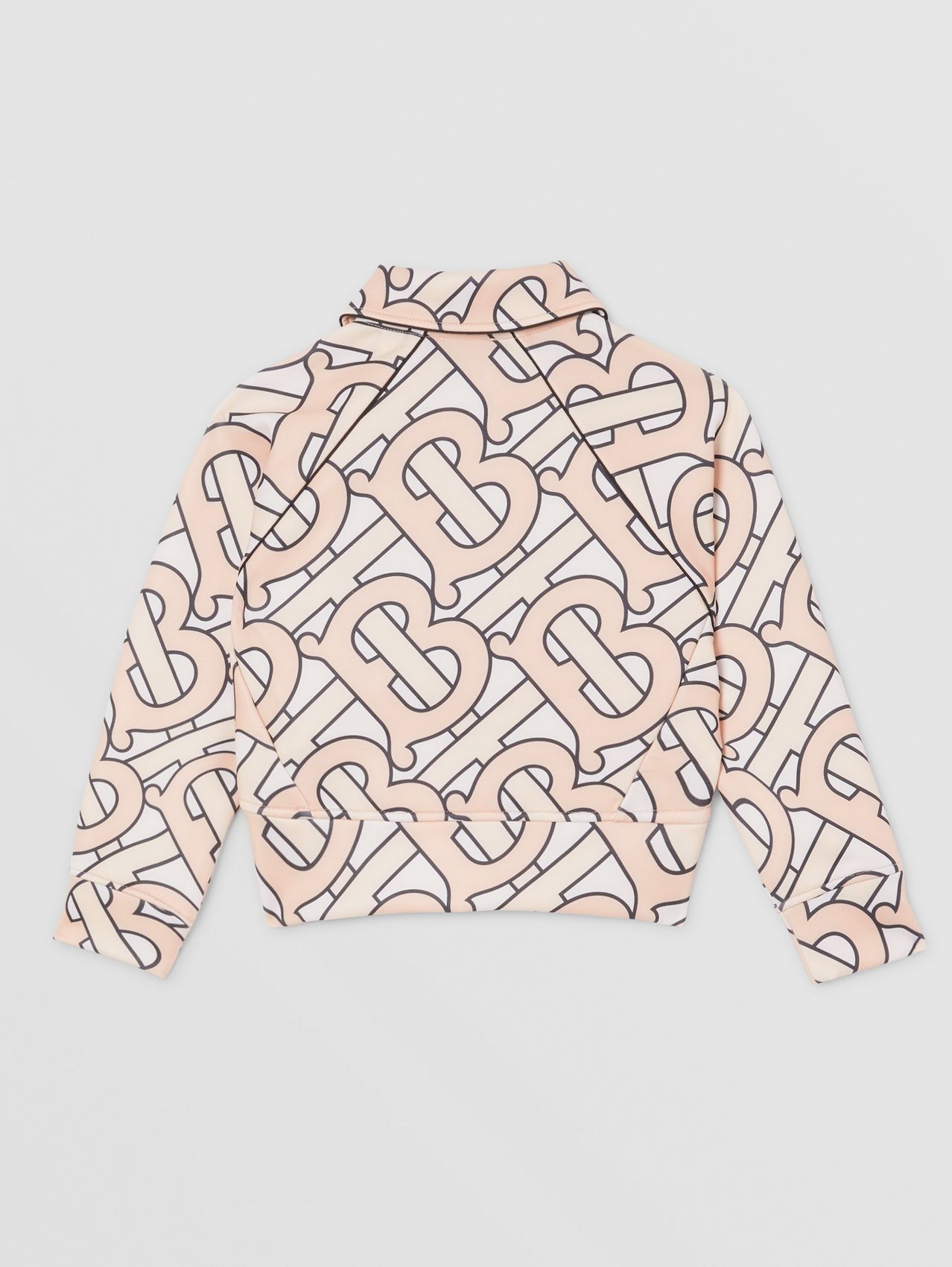 Monogram Print Technical Jersey Track Top in Rose Pink