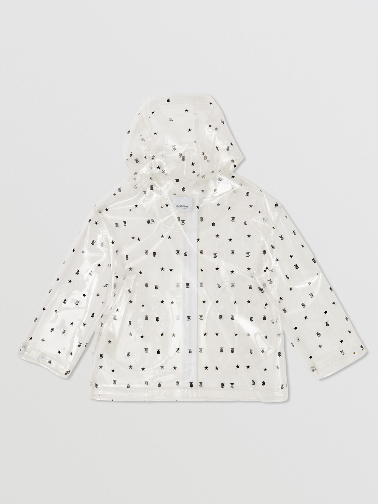 Star and Monogram Motif Transparent Hooded Coat in Black