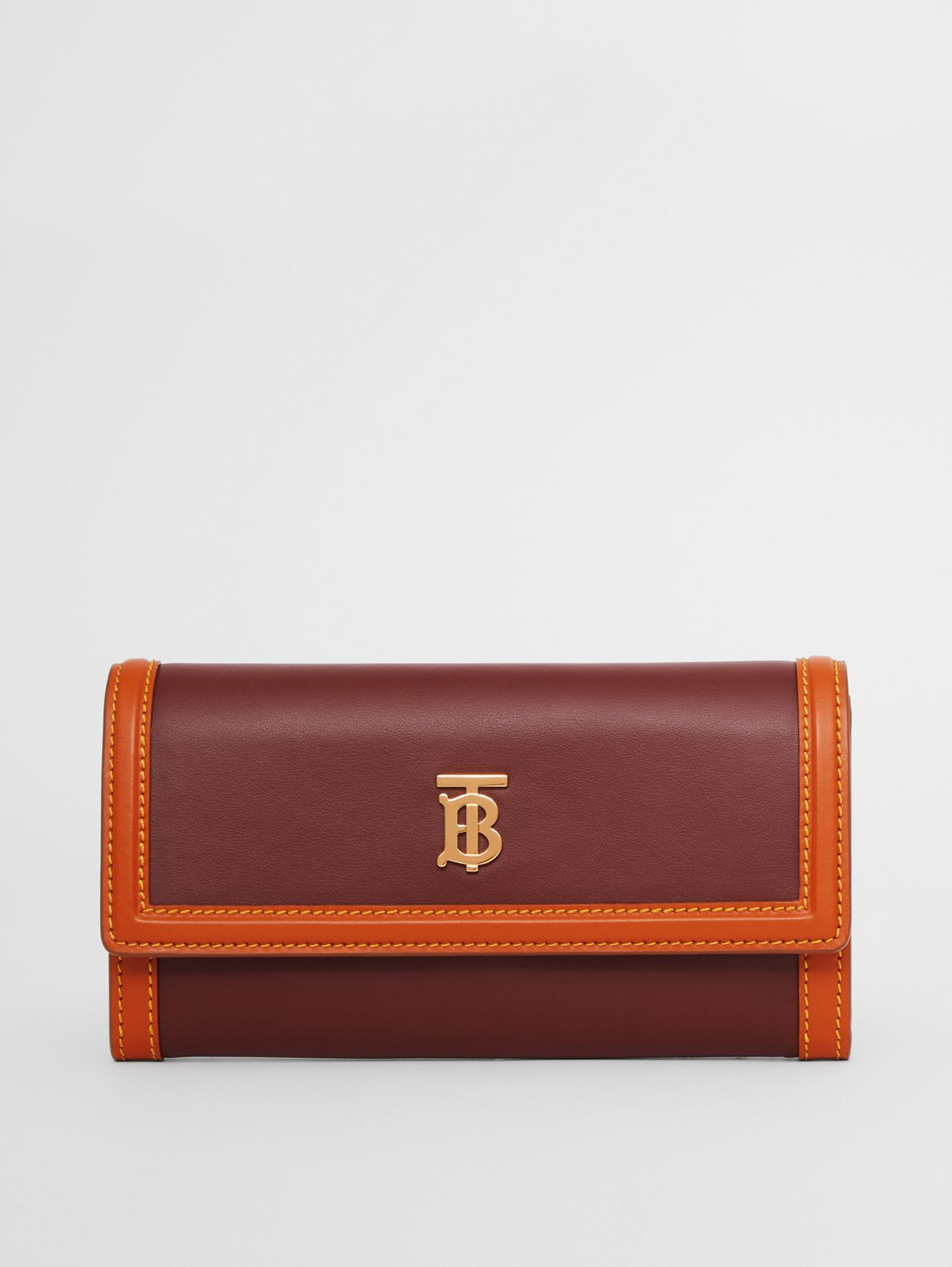 Monogram Motif Two-tone Leather Continental Wallet in Garnet