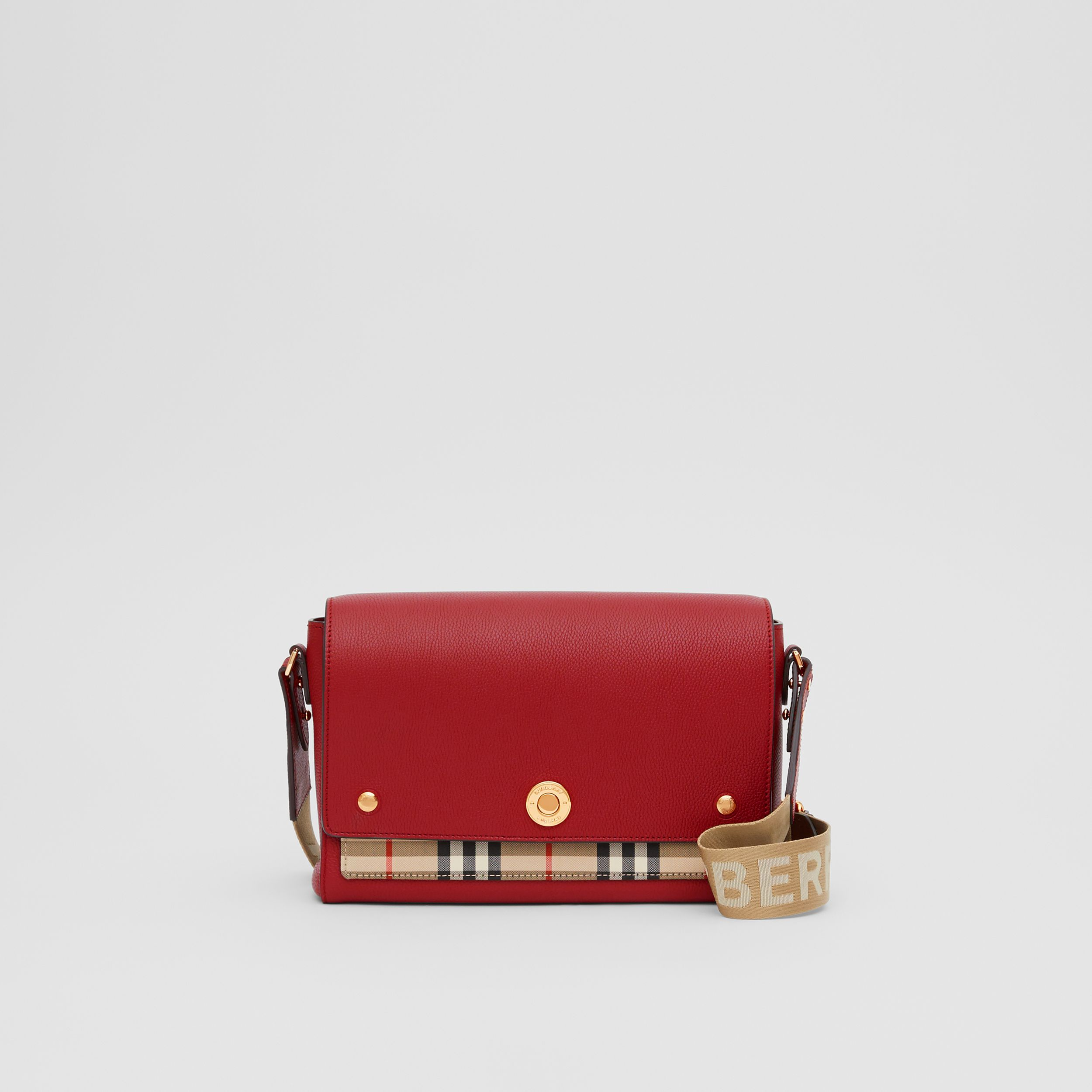 Leather and Vintage Check Note Crossbody Bag in Dark Carmine - Women | Burberry - 1