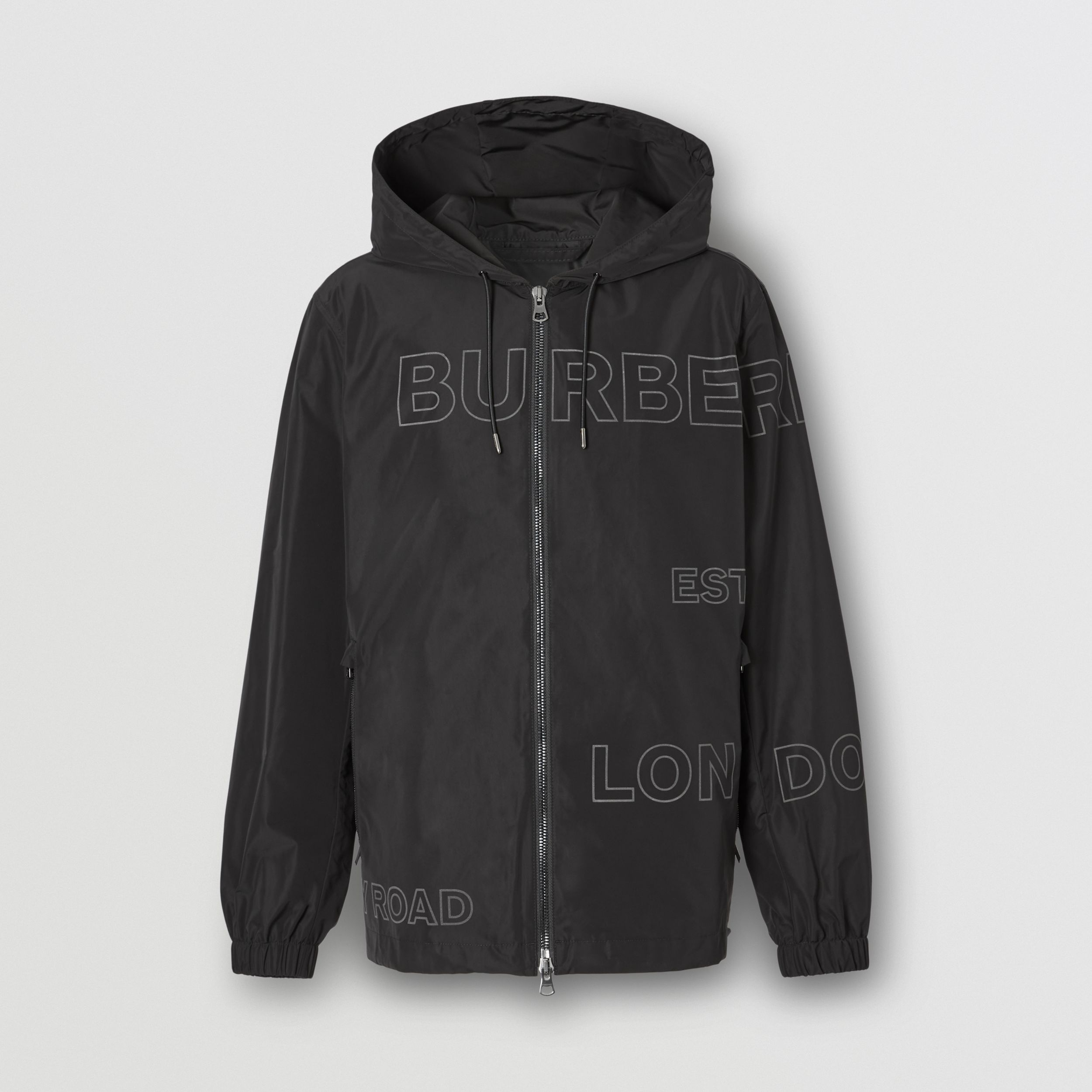 Horseferry Print Shape-memory Taffeta Hooded Jacket in Black - Men | Burberry - 4