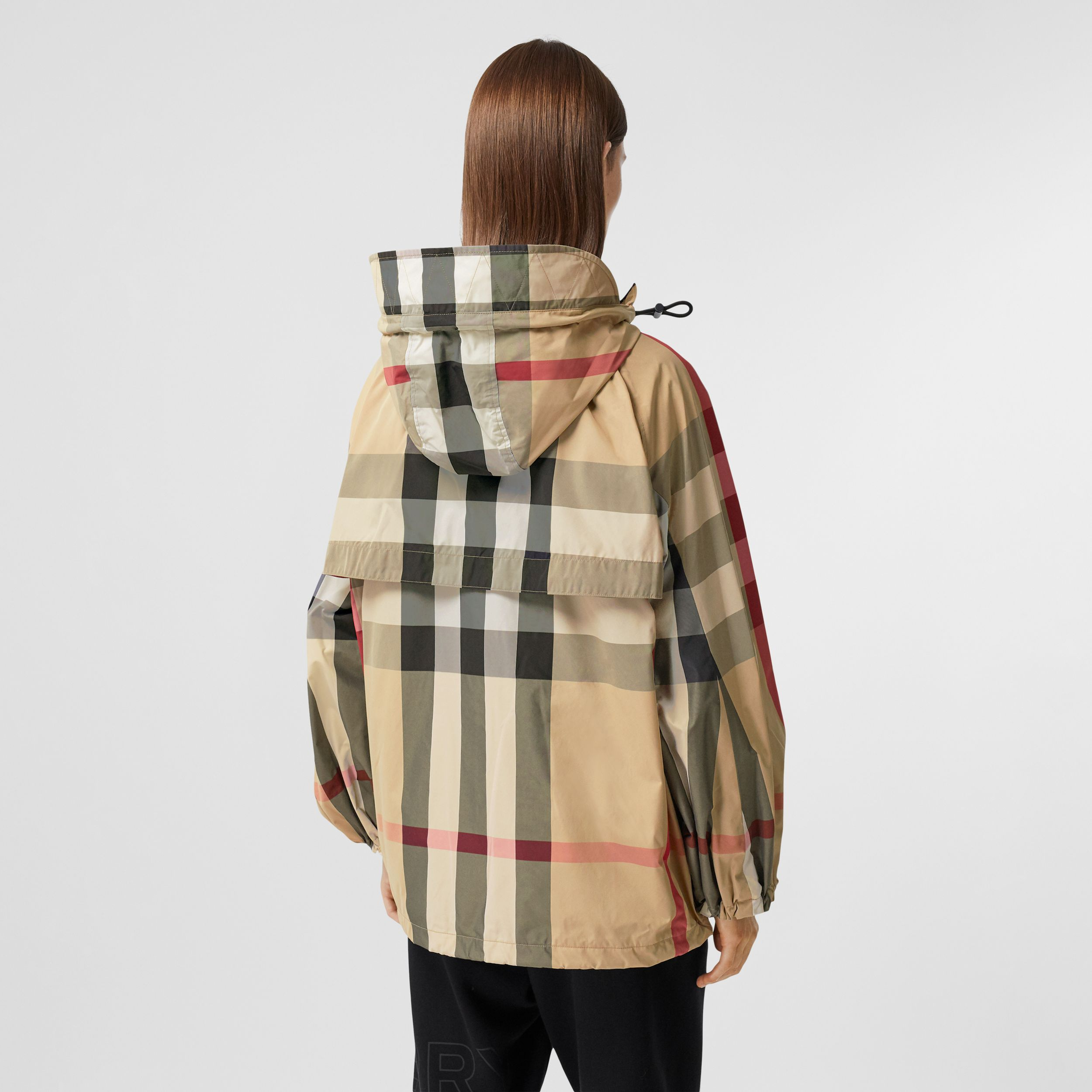 Check Recycled Nylon Hooded Jacket in Archive Beige - Women | Burberry - 3