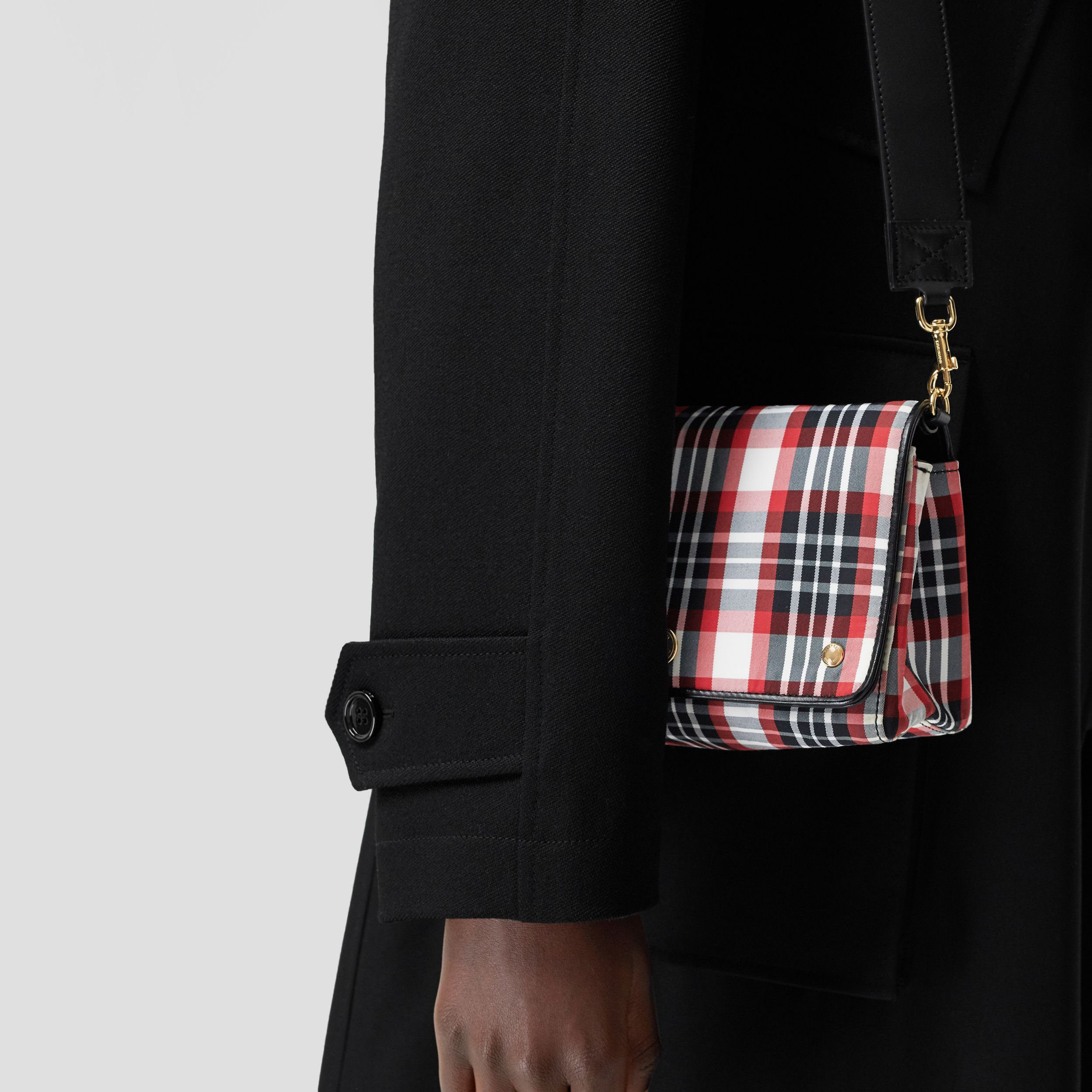 Small Tartan Nylon Crossbody Bag in Bright Red - Women | Burberry - 3