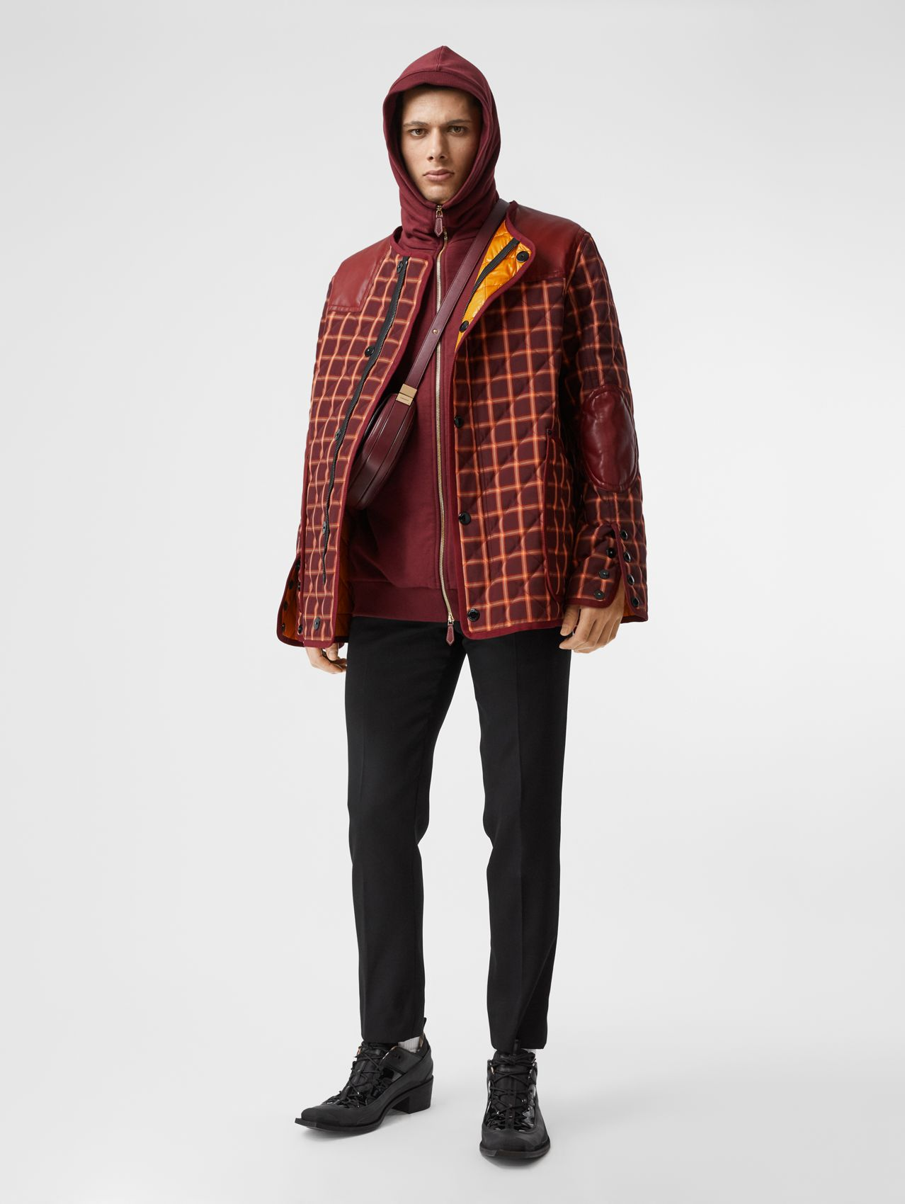 Lambskin Trim Check Technical Cotton Barn Jacket in Burgundy