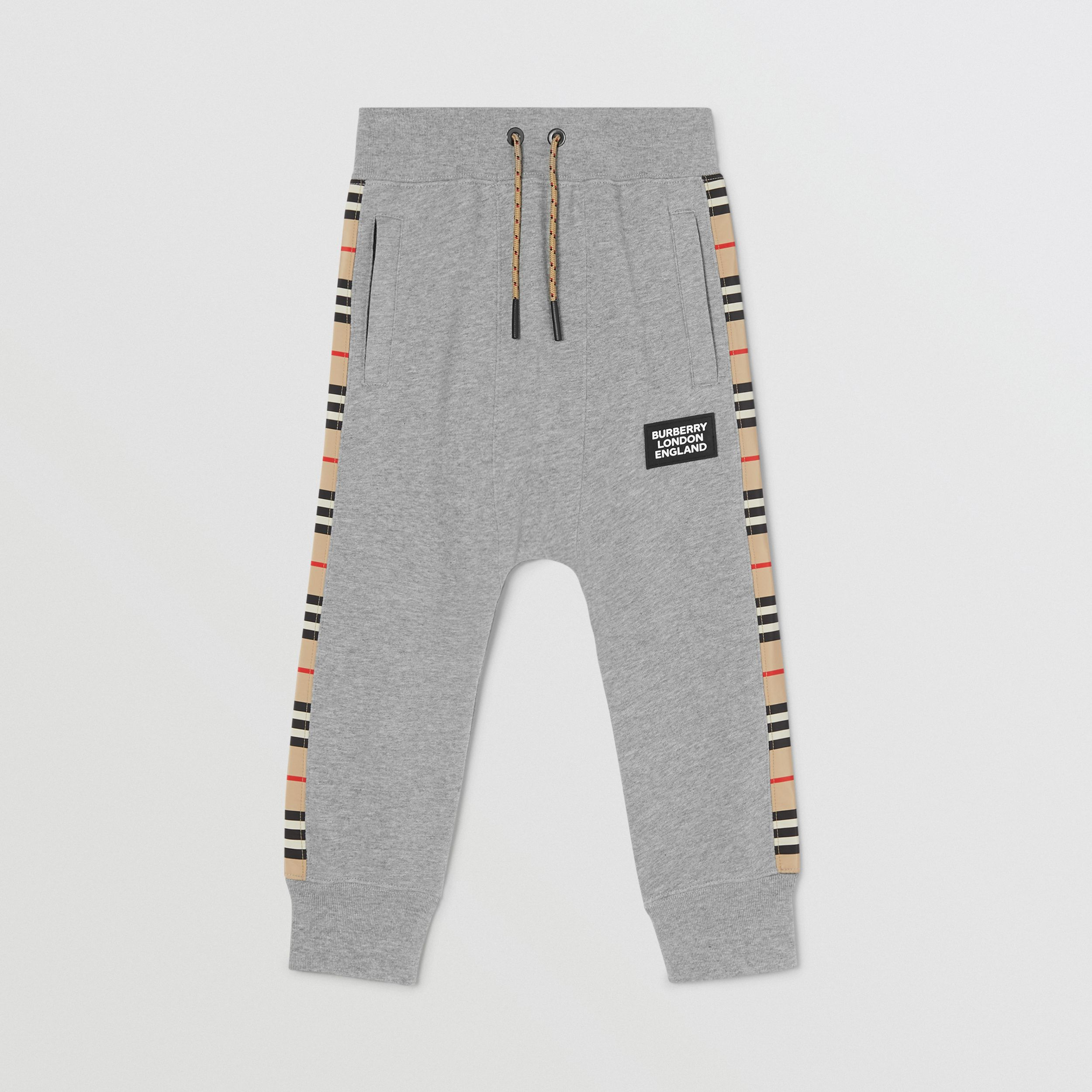Icon Stripe Panel Cotton Jogging Pants in Grey Melange | Burberry - 1