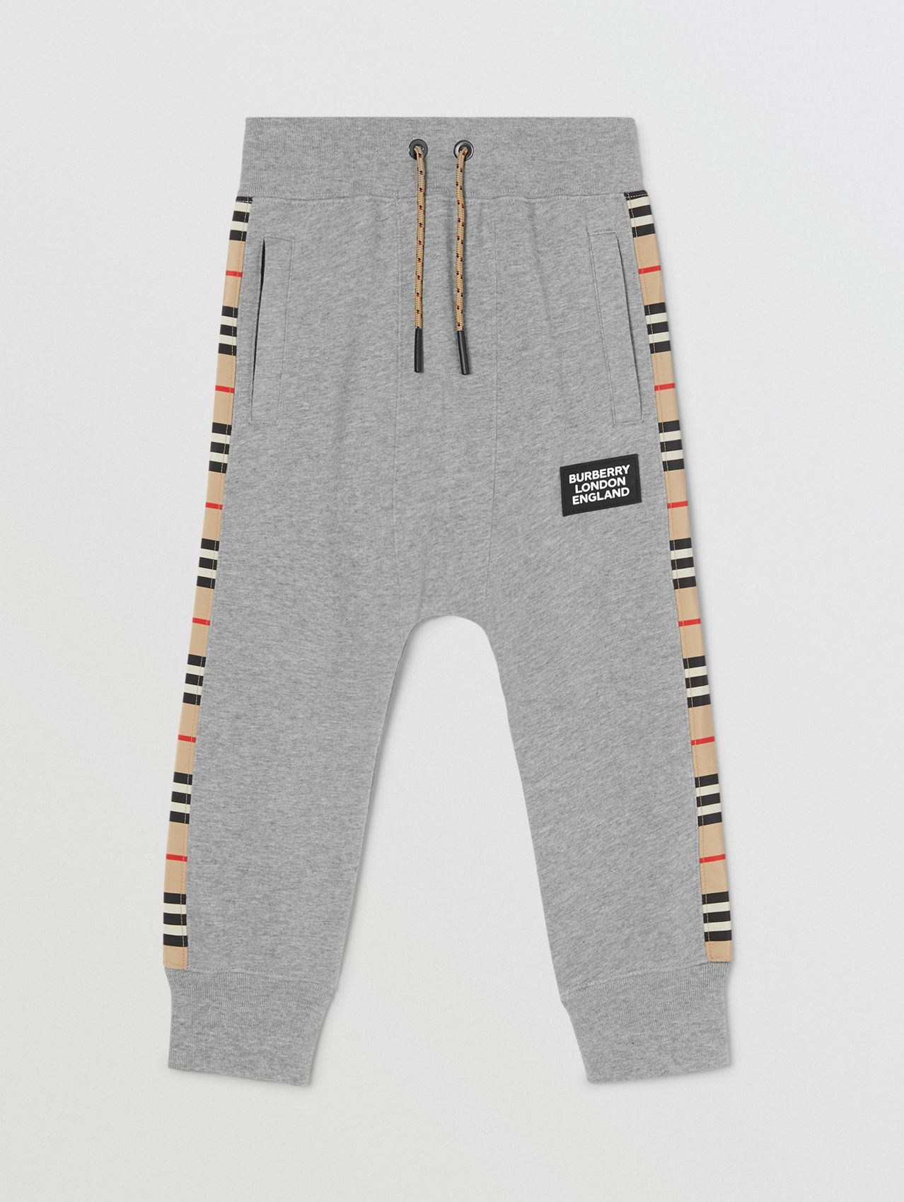 Icon Stripe Panel Cotton Jogging Pants in Grey Melange