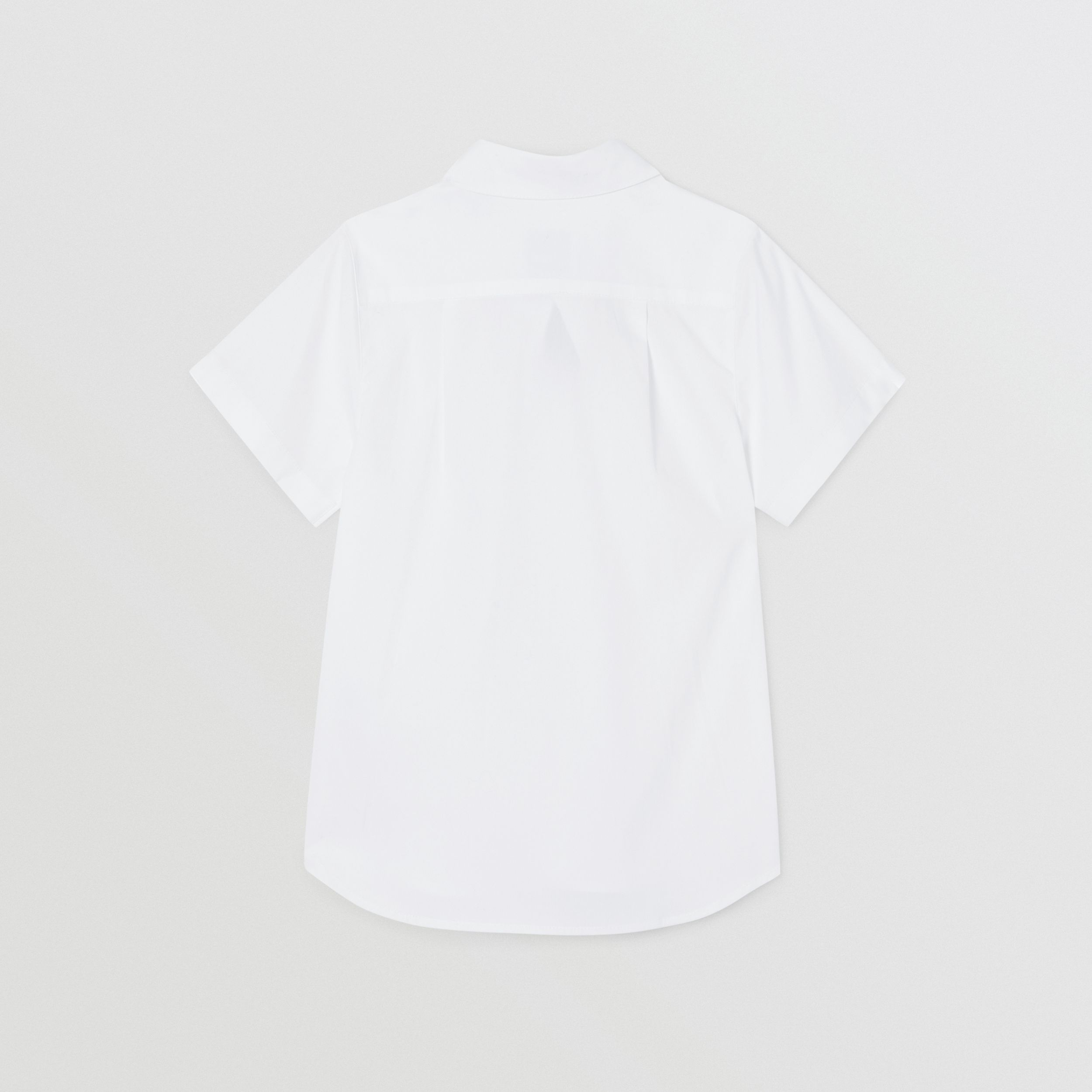 Short-sleeve Icon Stripe Trim Stretch Cotton Shirt in White | Burberry - 4
