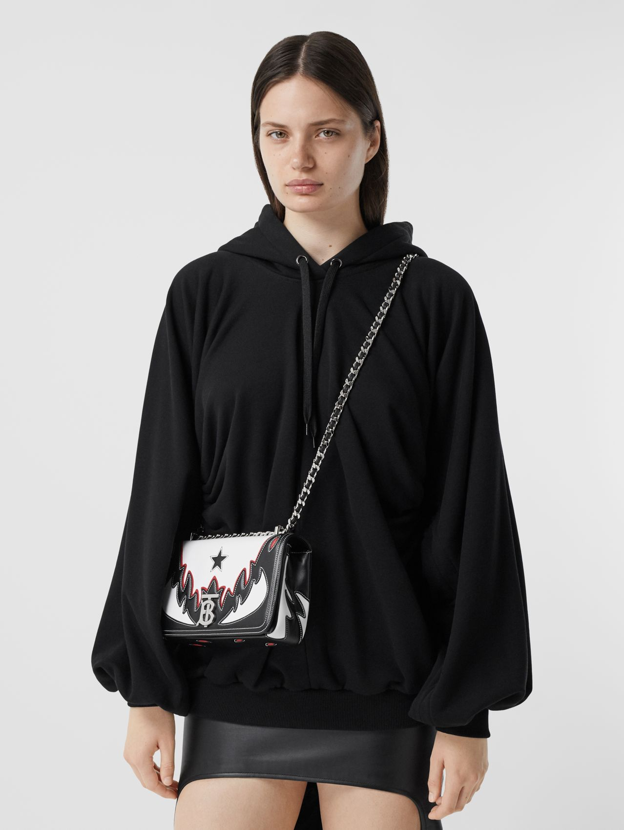 Small Topstitch Appliqué Leather Lola Bag in White/black/red