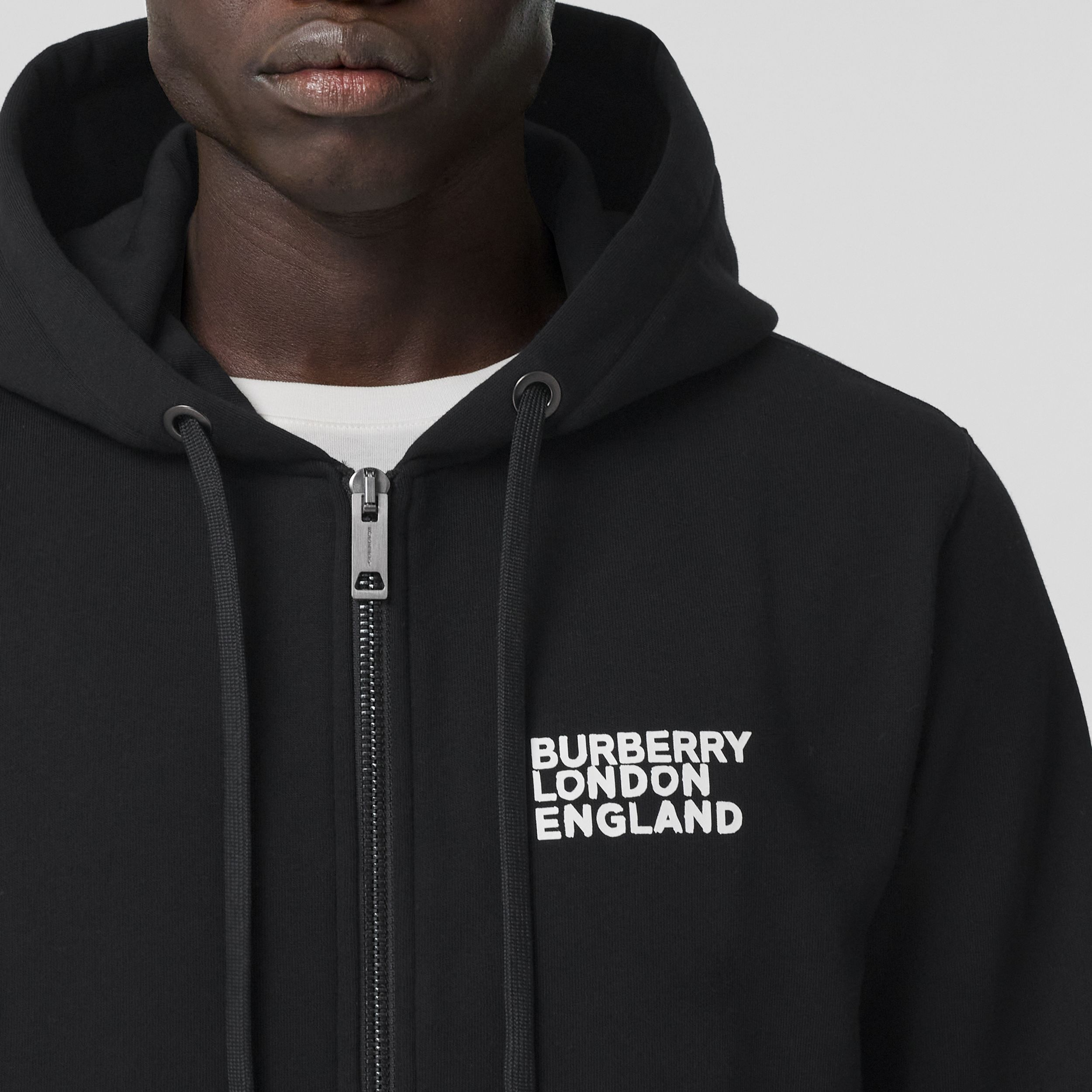 Love Print Cotton Hooded Top in Black - Men | Burberry - 2